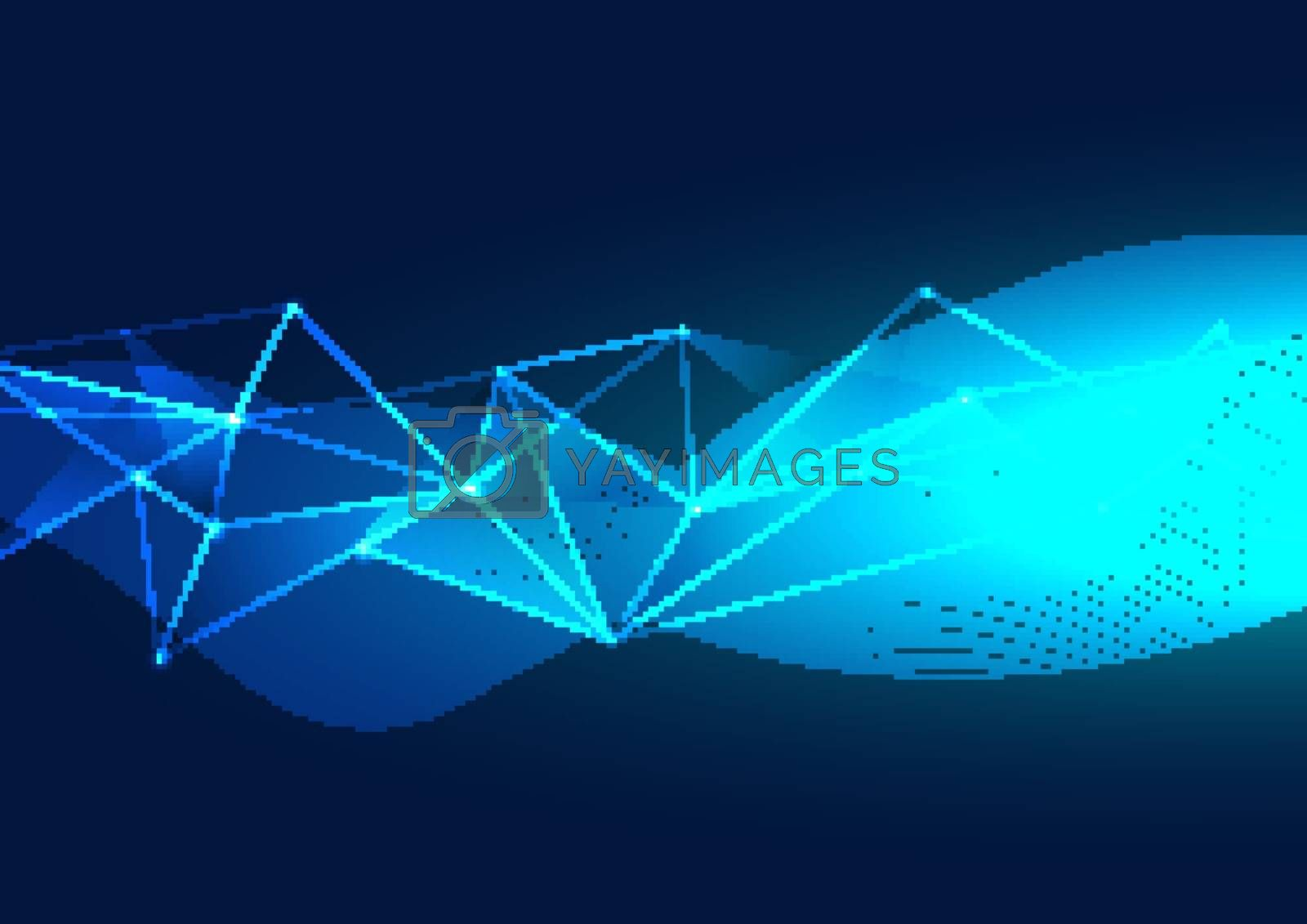 Abstract blue polygons background from lines, dot glowing particles with plexus effect. Wave line flow. Technology digital data visualization. Vector illustration