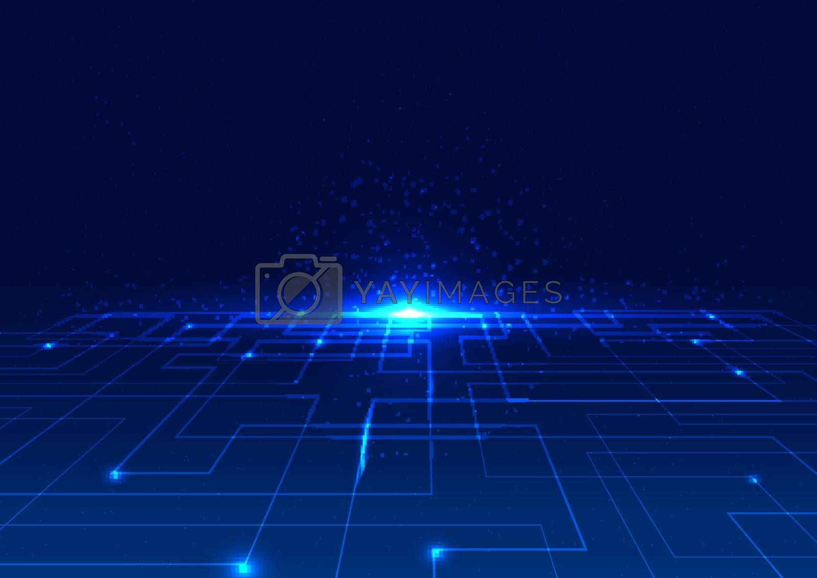 Abstract technology digital concept blue line perspective with glow light on dark background. Vector illustration
