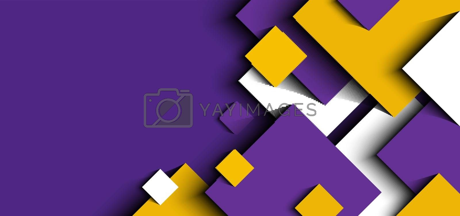 Abstract background 3D purple, yellow, white geometric squares shape design paper cut style. Vector illustration