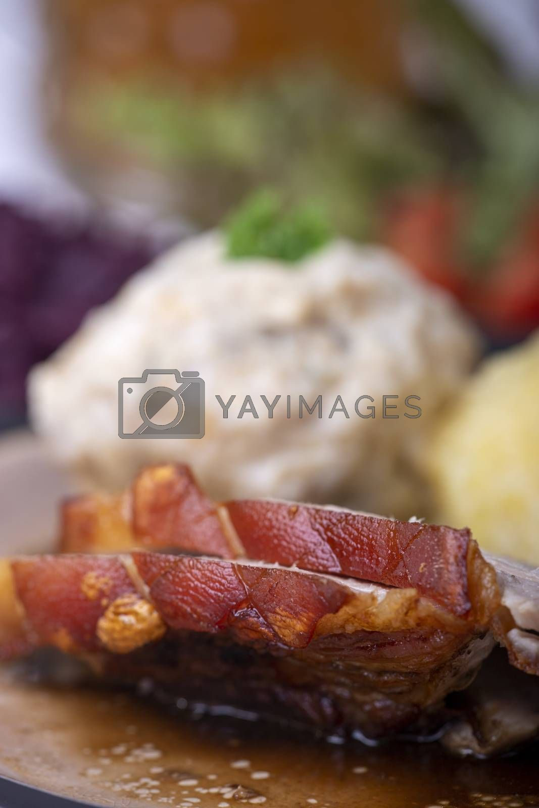 bavarian roasted pork with different dumplings