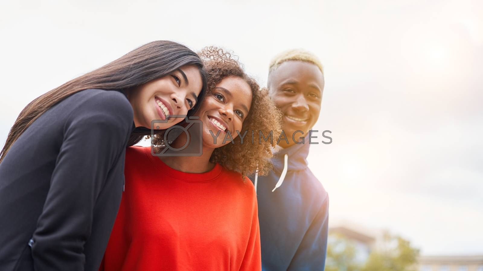 Multi ethnic friends outdoor on photo shooting looking at camera. Diverse group people Afro american asian spending time together Multiracial male female student meeting outdoors for photo