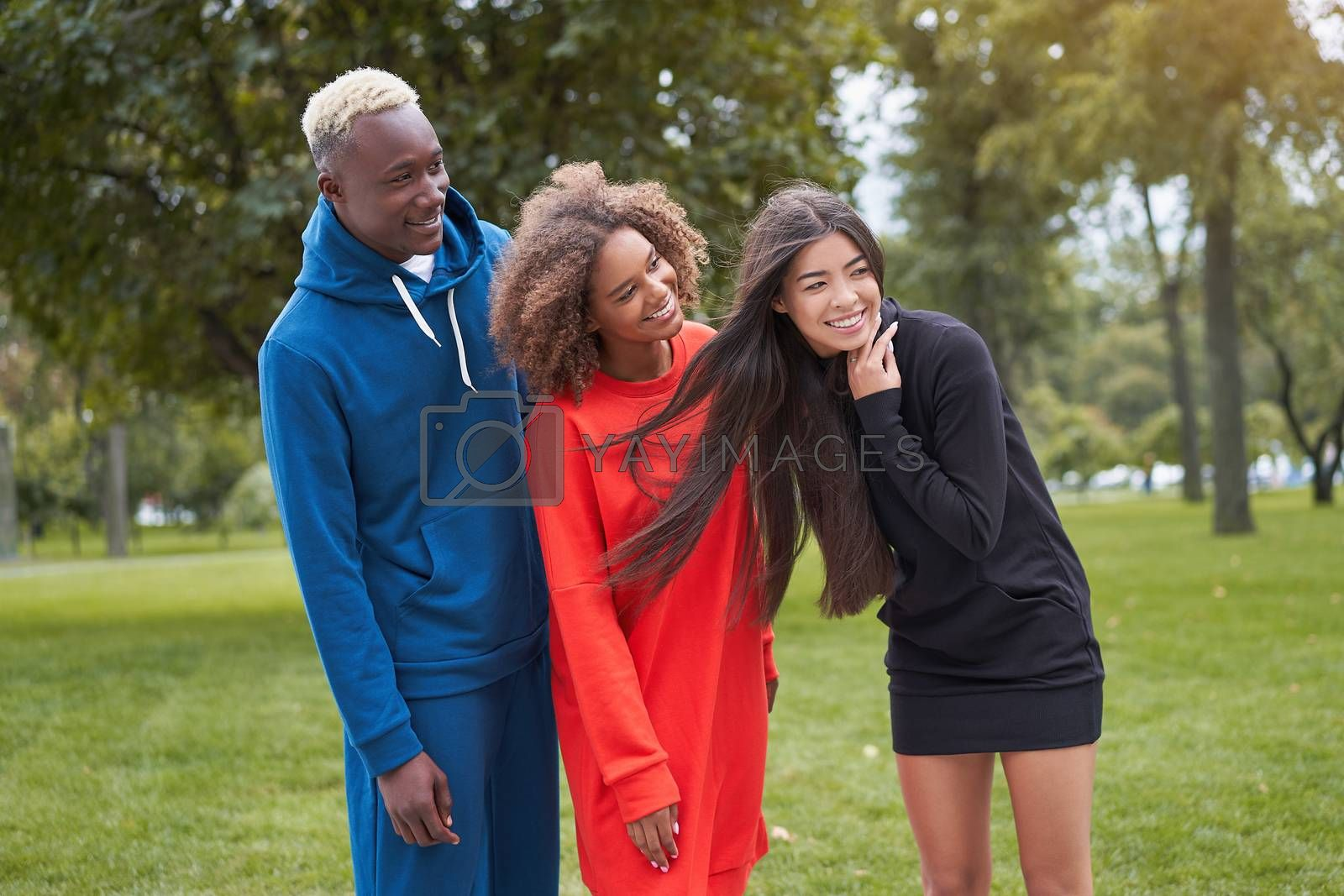 Multi ethnic friends outdoor. Diverse group people Afro american asian spending time together Multiracial male female student meeting outdoors