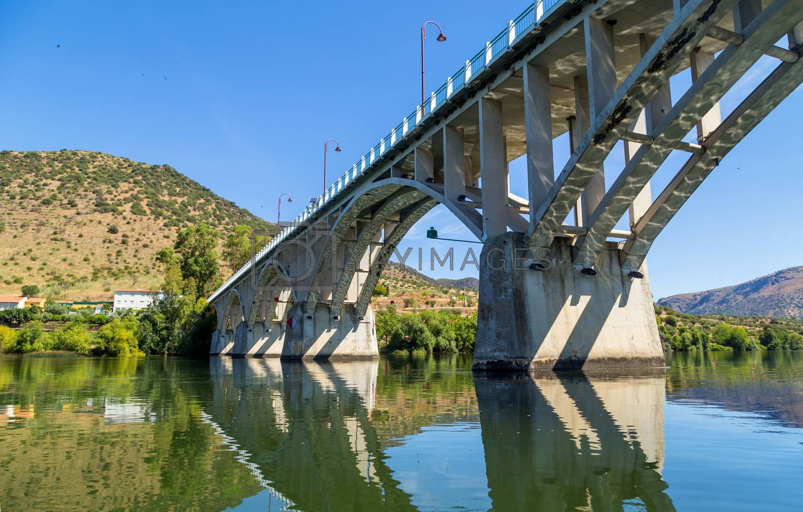 Bridge Almirante Sarmento Rodrigues, the first highway bridge on the Portuguese section of the Douro River, in Barca de Alva, near the Spanish border