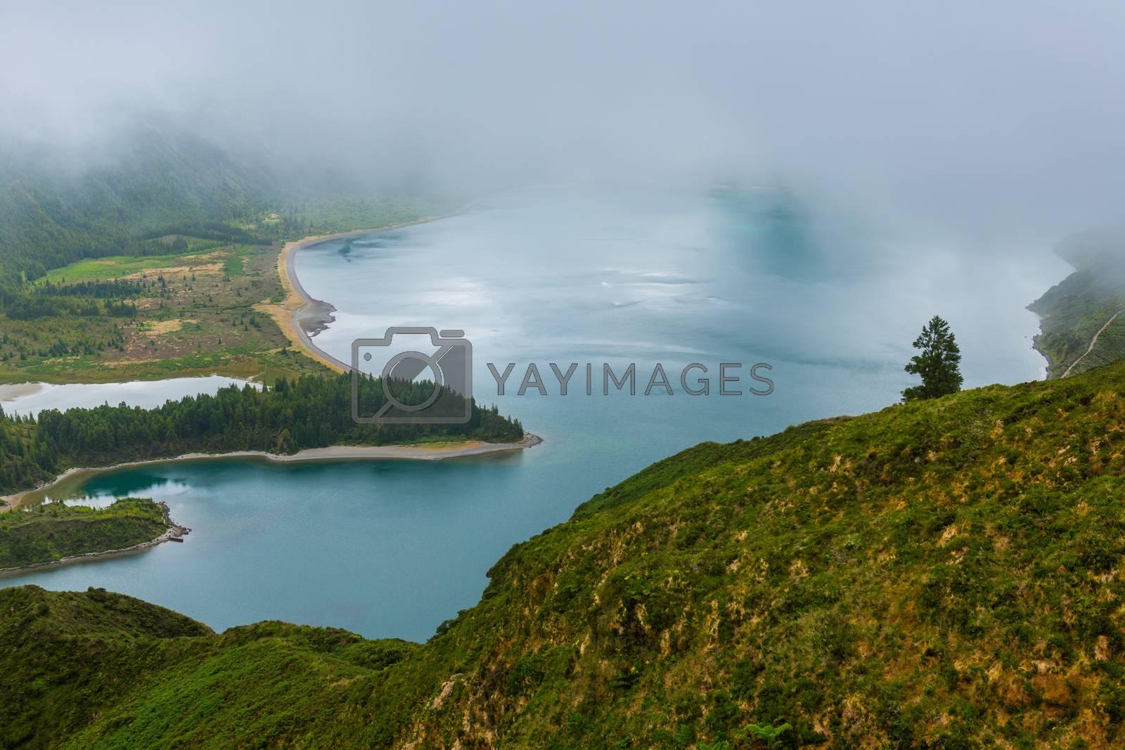 Beautiful view of Lagoa do Fogo, Sao Miguel Island, Azores, Portugal