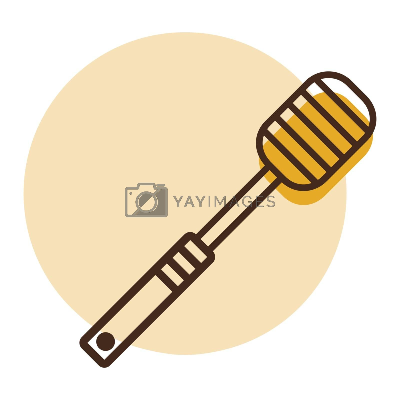 Honey dipper vector icon. Kitchen appliances. Graph symbol for cooking web site design, logo, app, UI