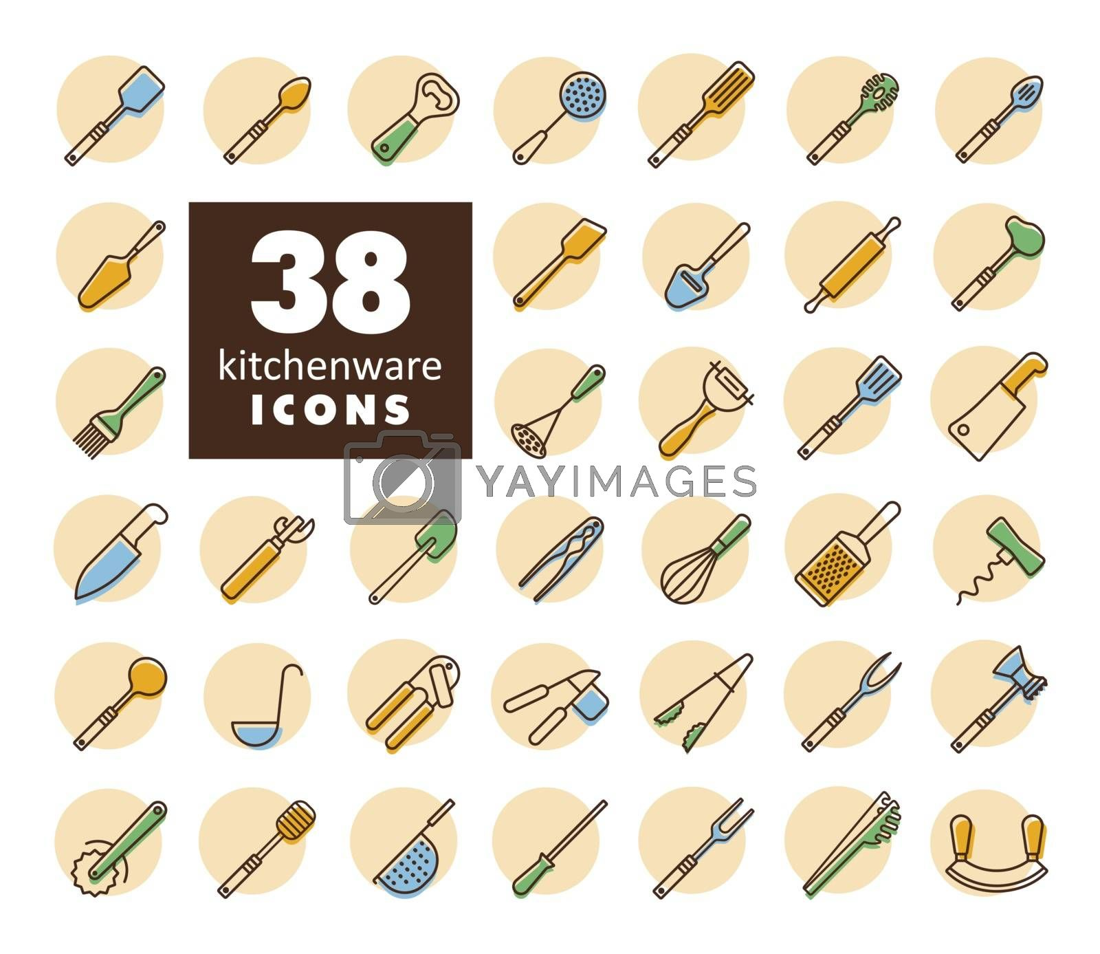 Kitchenware and kitchen appliances vector icon set. Graph symbol for cooking web site and apps design, logo, app, UI