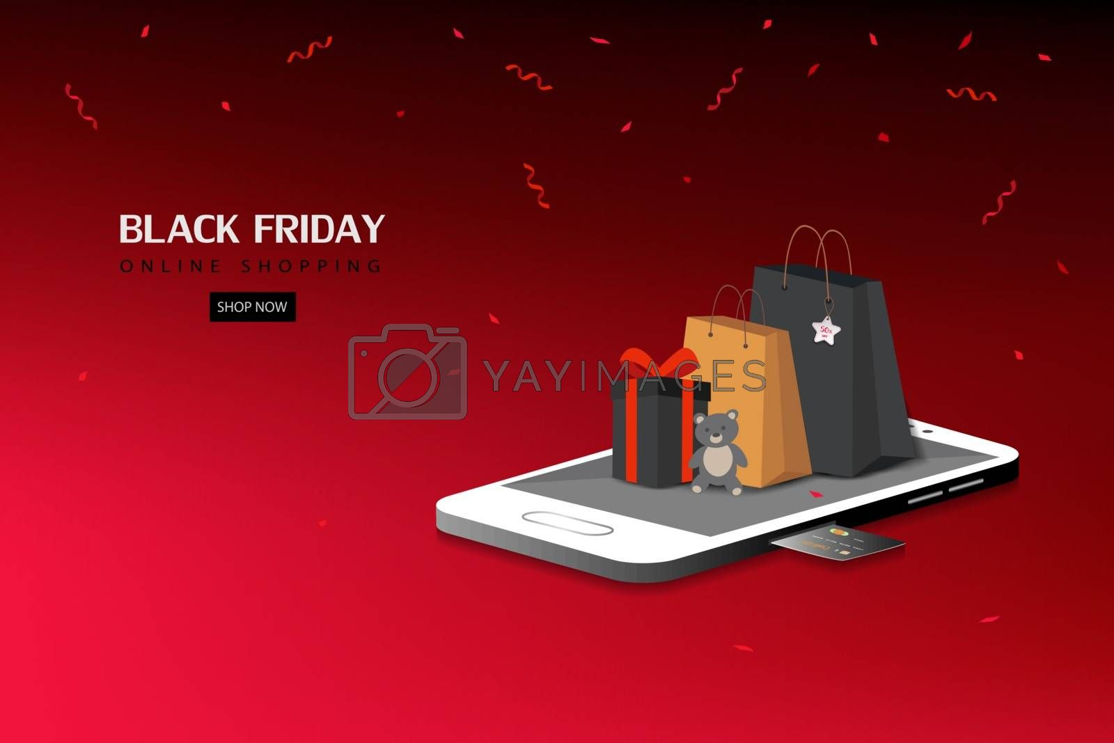 Black friday shopping online on social media mobile application or website concepts,vector illustration