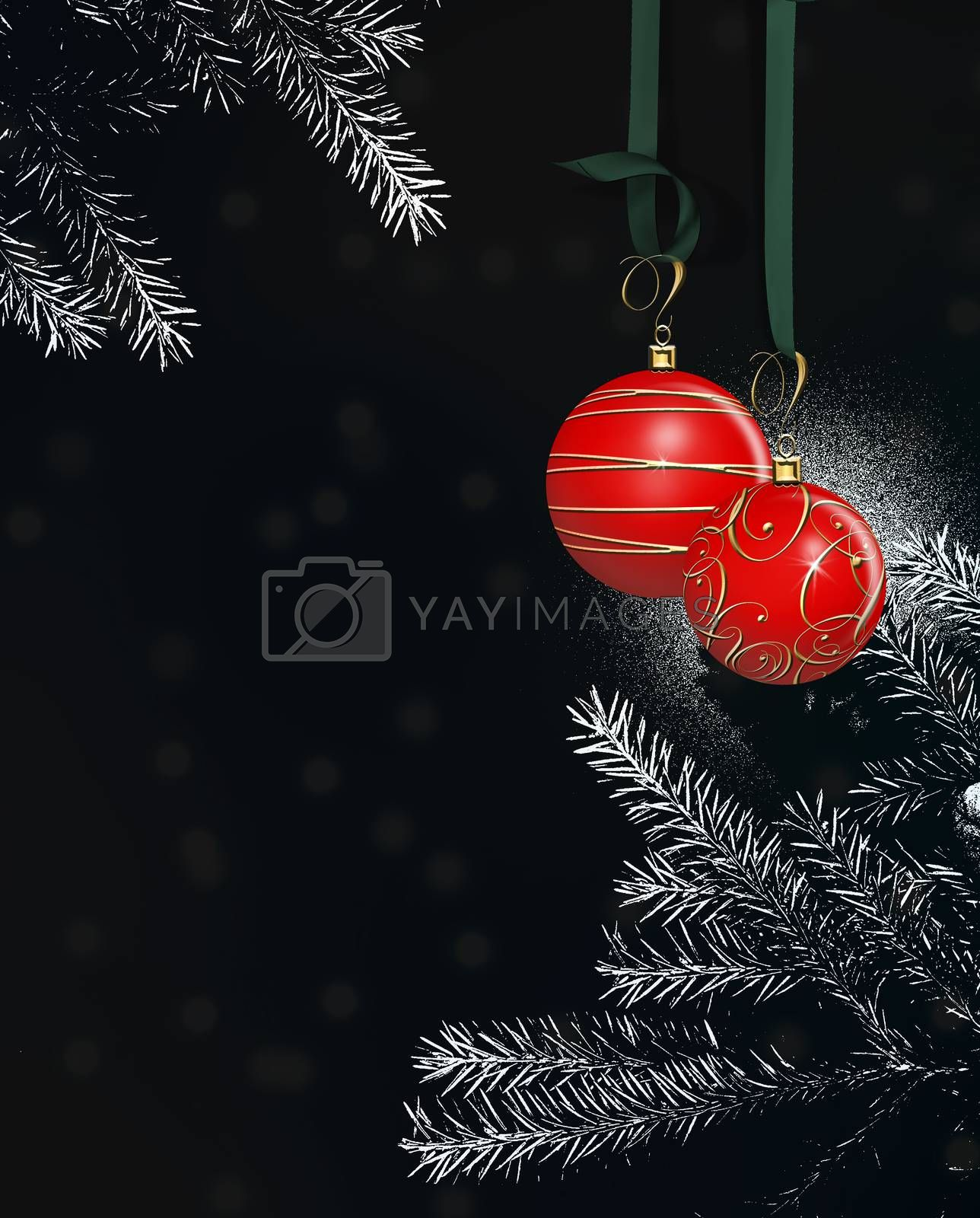 Dramatic Christmas New Year card with hanging red balls baubles with gold decoration on black and white background of Christmas tree branches 3D illustration. Place for text