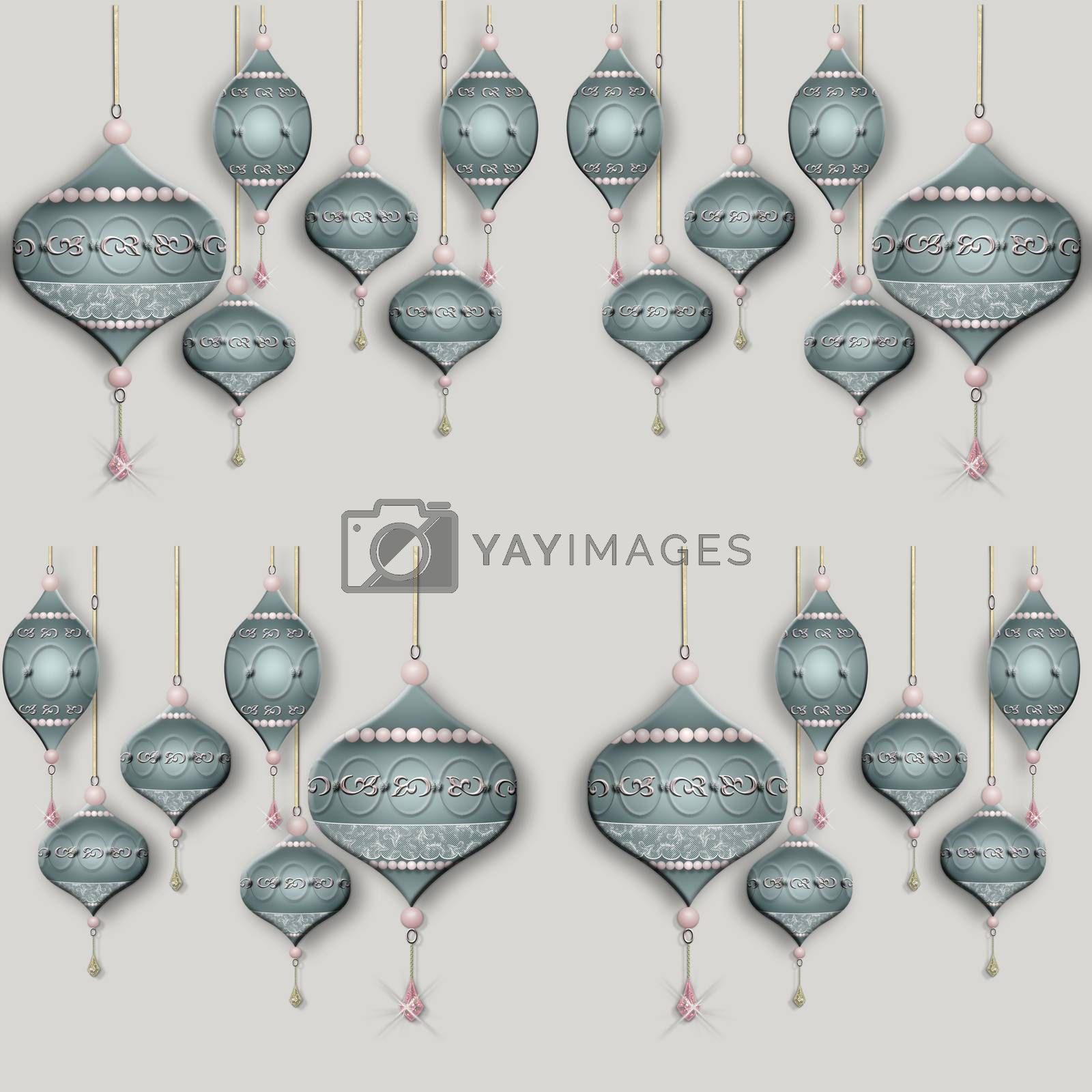 Christmas seamless pattern made of luxury Christmas baubles lanterns on pastel grey background. 3D illustration