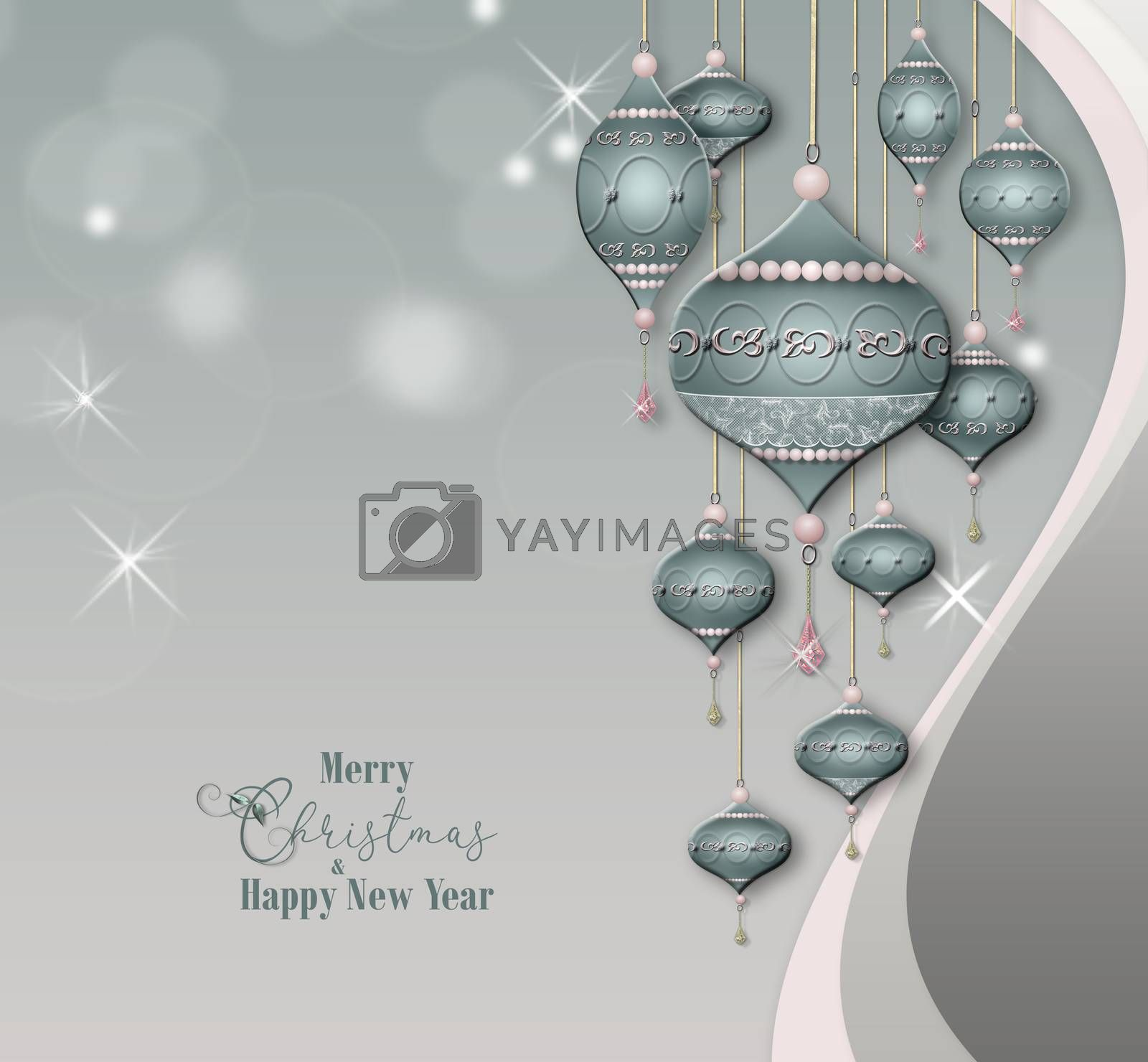 Beautiful Christmas baubles balls with jewelry decoration on pastel grey background with bokeh. Text Merry Christmas Happy New Year. 3D illustration