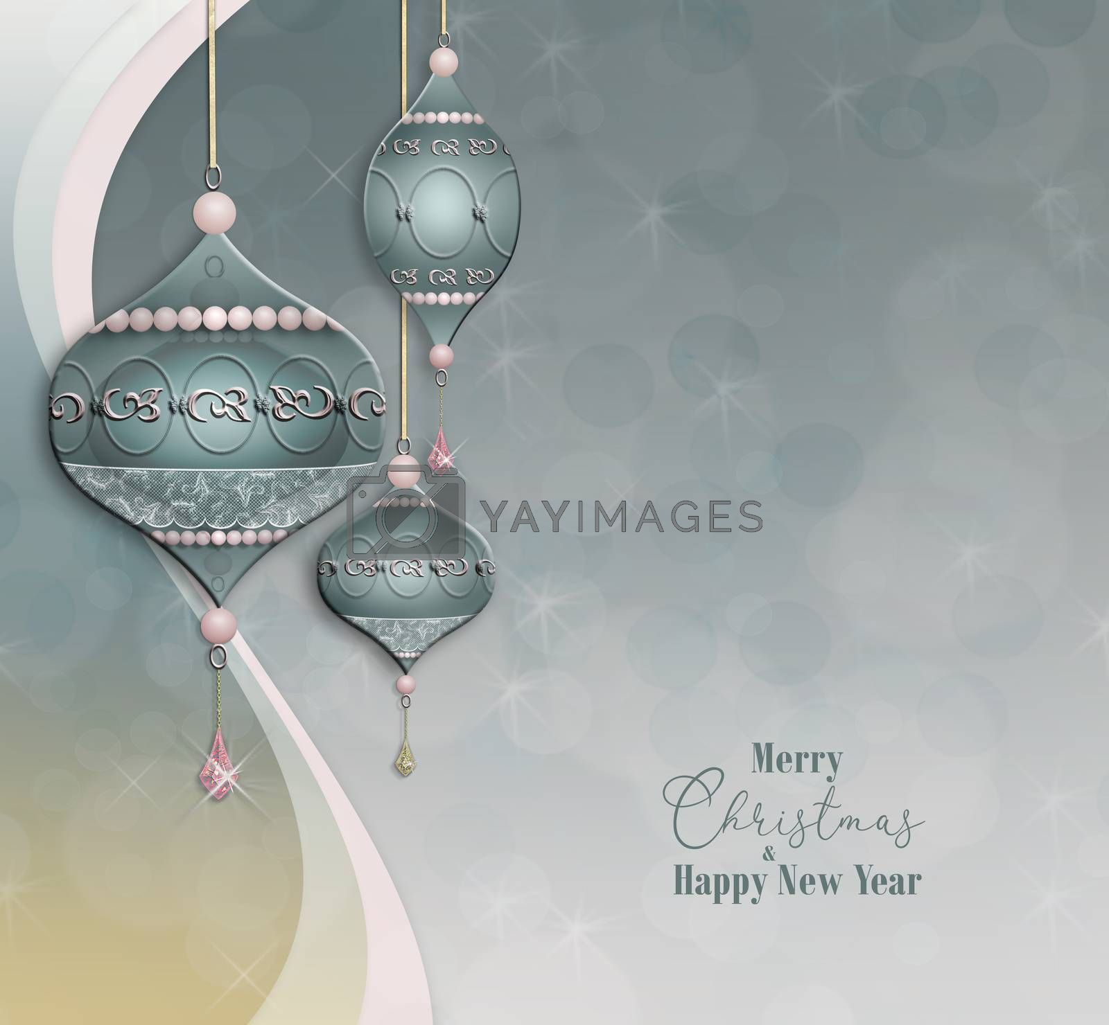 Beautiful Christmas baubles balls with jewelry decoration on pastel green grey pink background with bokeh. Text Merry Christmas Happy New Year. 3D illustration