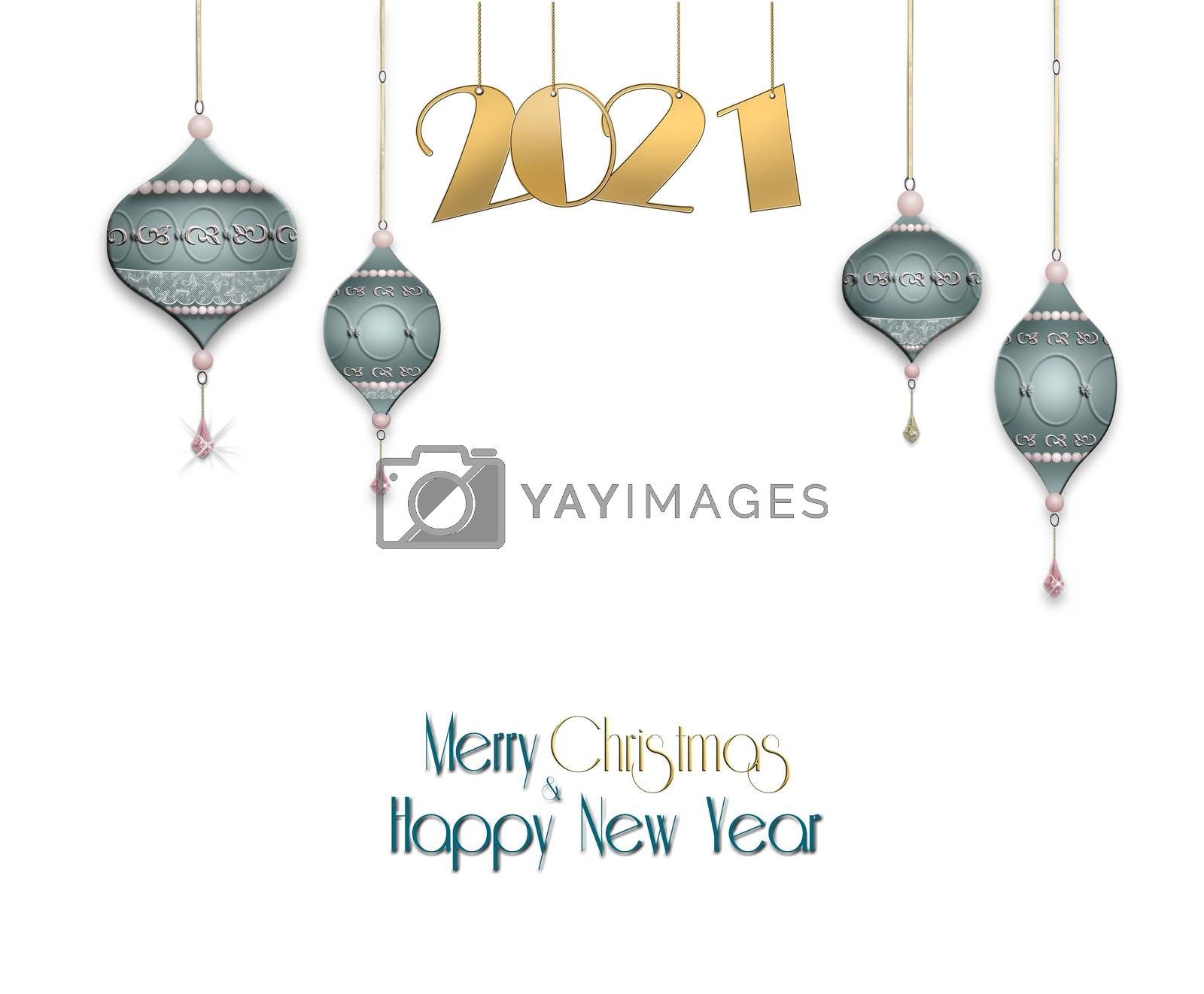 New Year, Christmas background with hanging blue balls with gold ornament and hanging gold digit 2021 on pastel green background. Copy space. 3D illustration