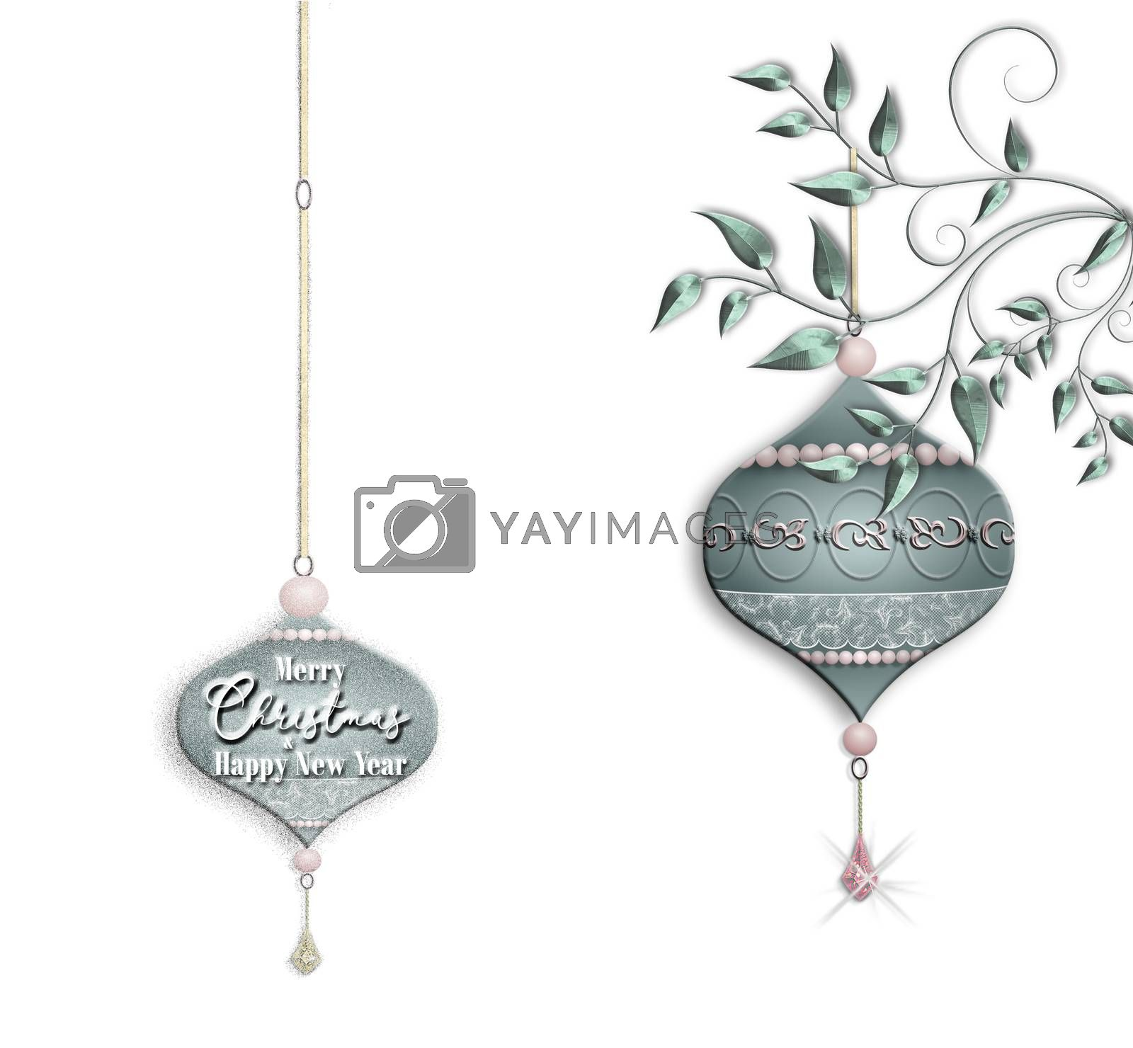 Luxury green pink Christmas baubles with jewelry decoration hanging against white background. Text Merry Christmas Happy New Year. Copy space. Place for text, mock up. 3D illustration