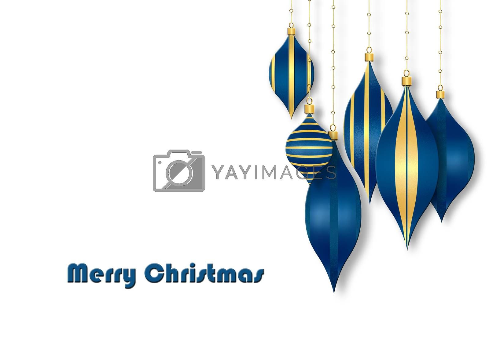 Christmas 3D illustration on white background. Text Merry Christmas, blue baubles and balls with gold ornament.