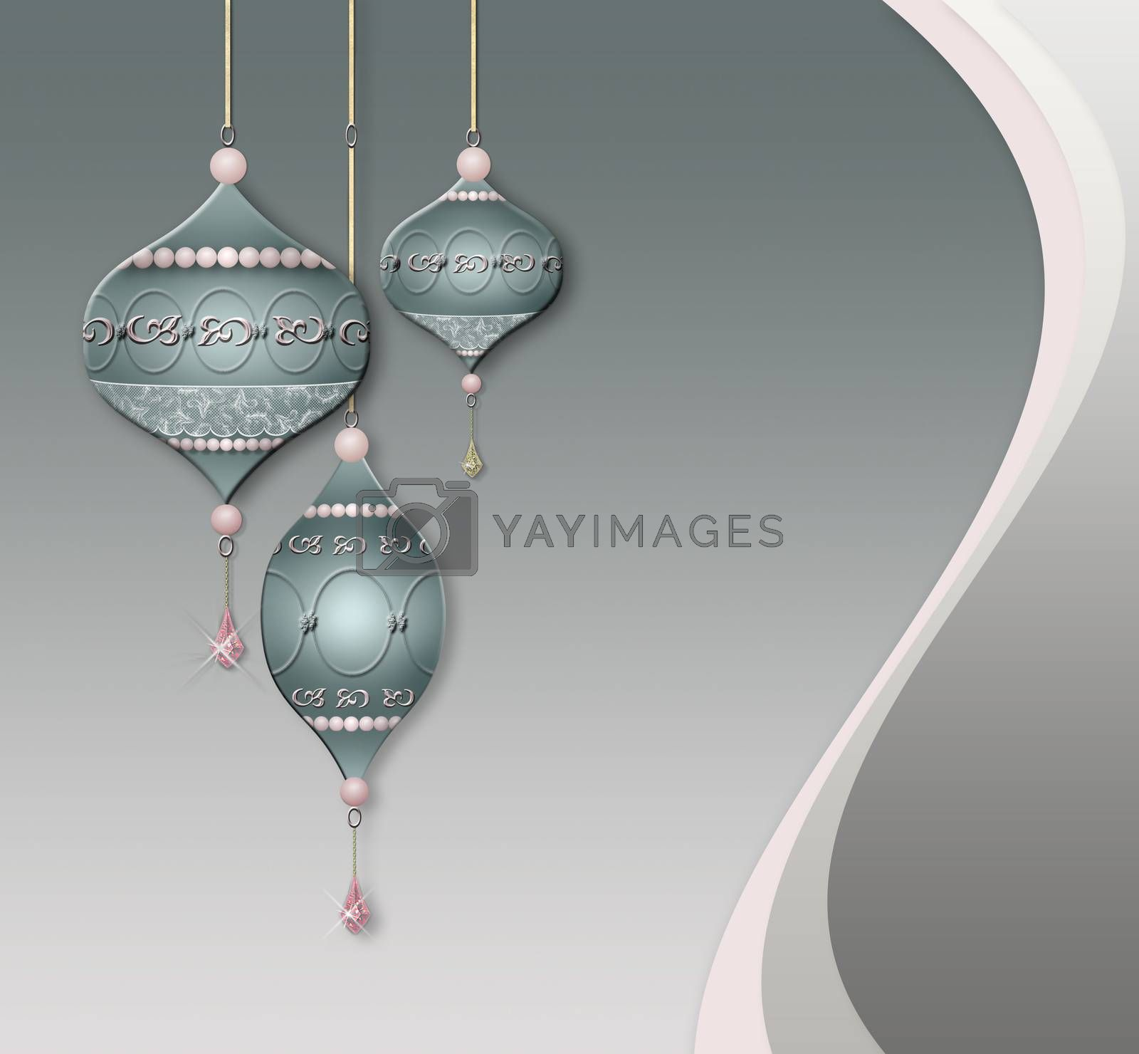 Luxury Xmas jewelry baubles balls for card, invitation, header print and web design on pastel background. 3D illustration