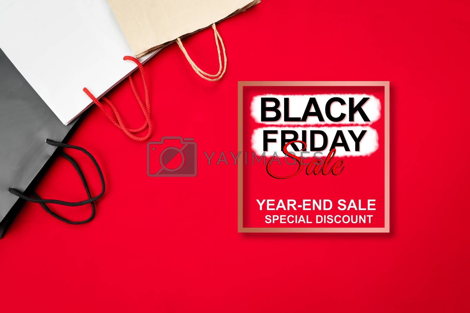 black friday sale, shopping bag on red background