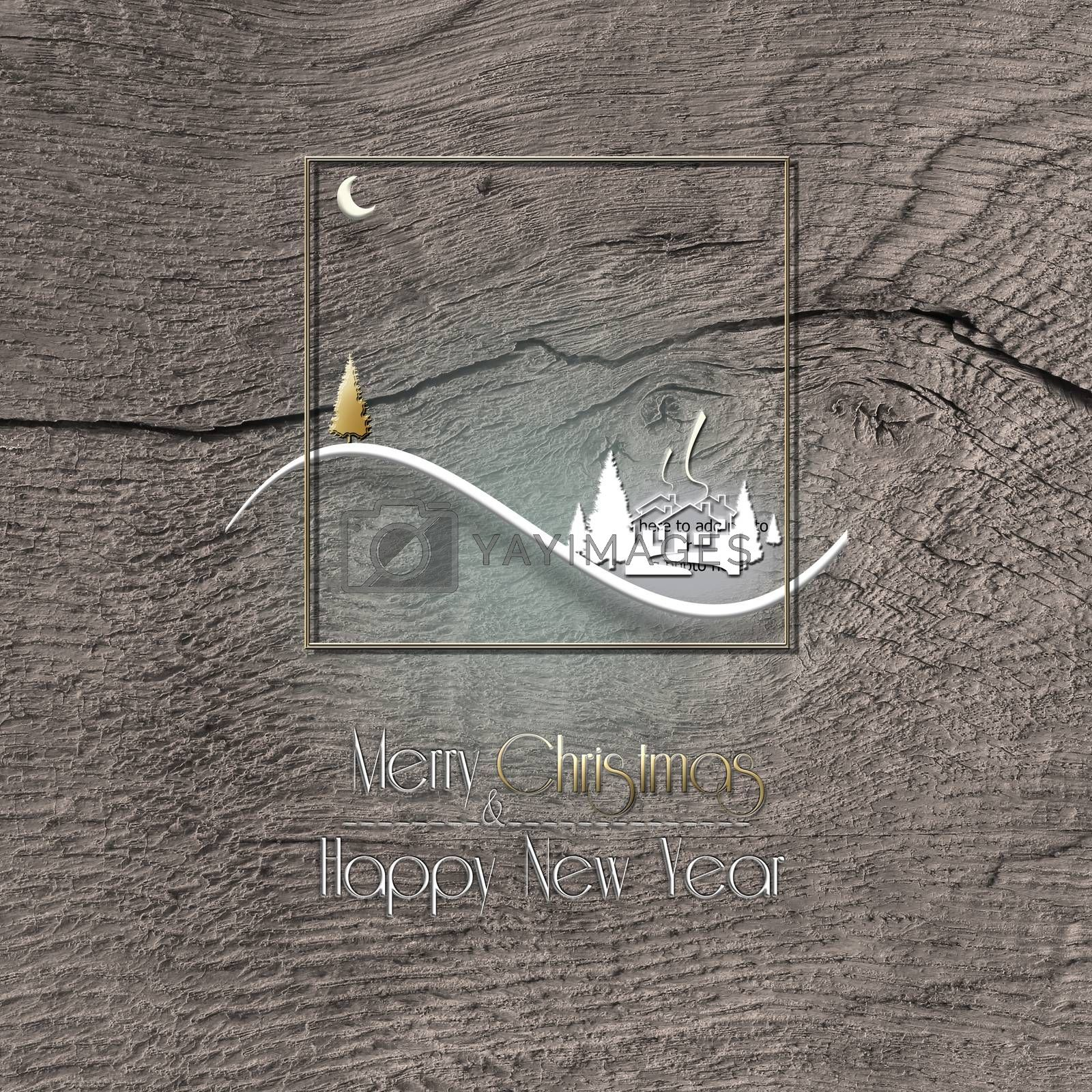 Minimalist Christmas 2021 New Year winter landscape on old wood texture background. Text Merry Christmas Happy New year. Design, poster. 3D Illustration