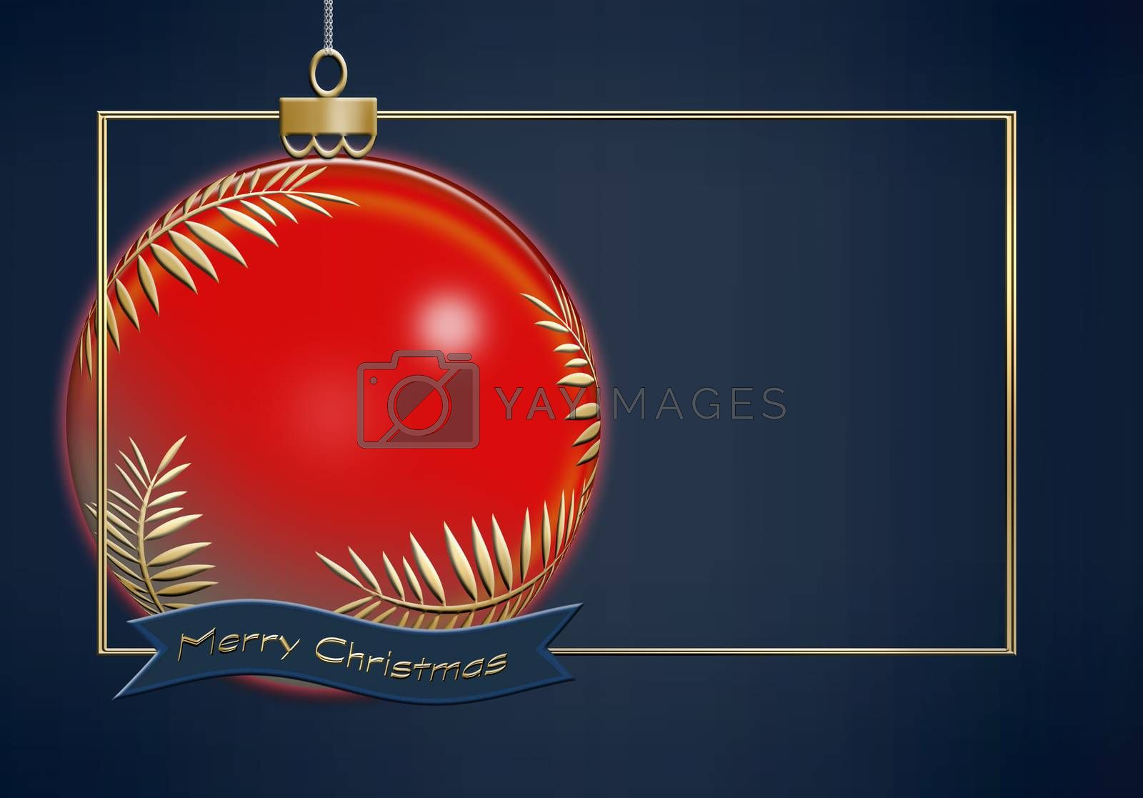 Hanging red Christmas ball made of gold leaves on blue background with gold frame. Minimalist greeting 2021 New Year card. Text Merry Christmas. 3D illustration