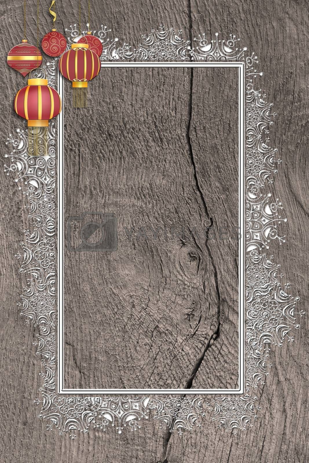 Christmas 2021 New Year grunge wooden background with silver border of snowflakes and hanging red Christmas balls with gold ornament. Mock up, place for text, menu. Vertical. Flat lay. 3D illustration