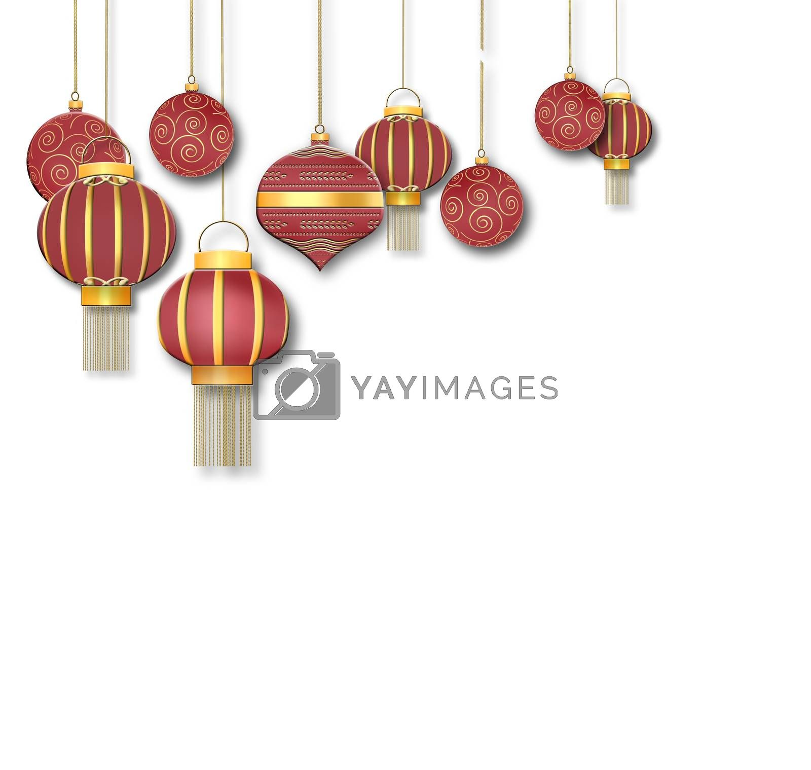 Hanging Chinese traditional lanterns and redf Christmas balls with gold ornament on white background. Place for text, copy space, mock up. 3D illustartion