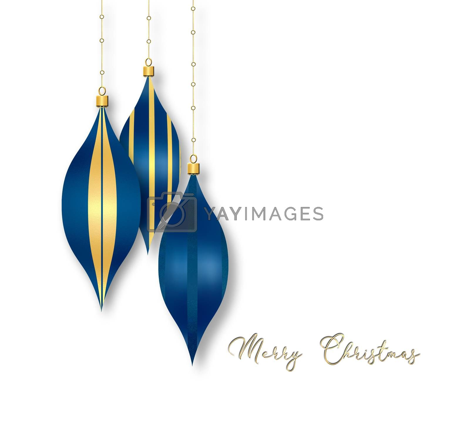 Elegant Christmas 2021 New Year background with hanging blue balls with gold ornament on white background. Copy space. 3D illustration