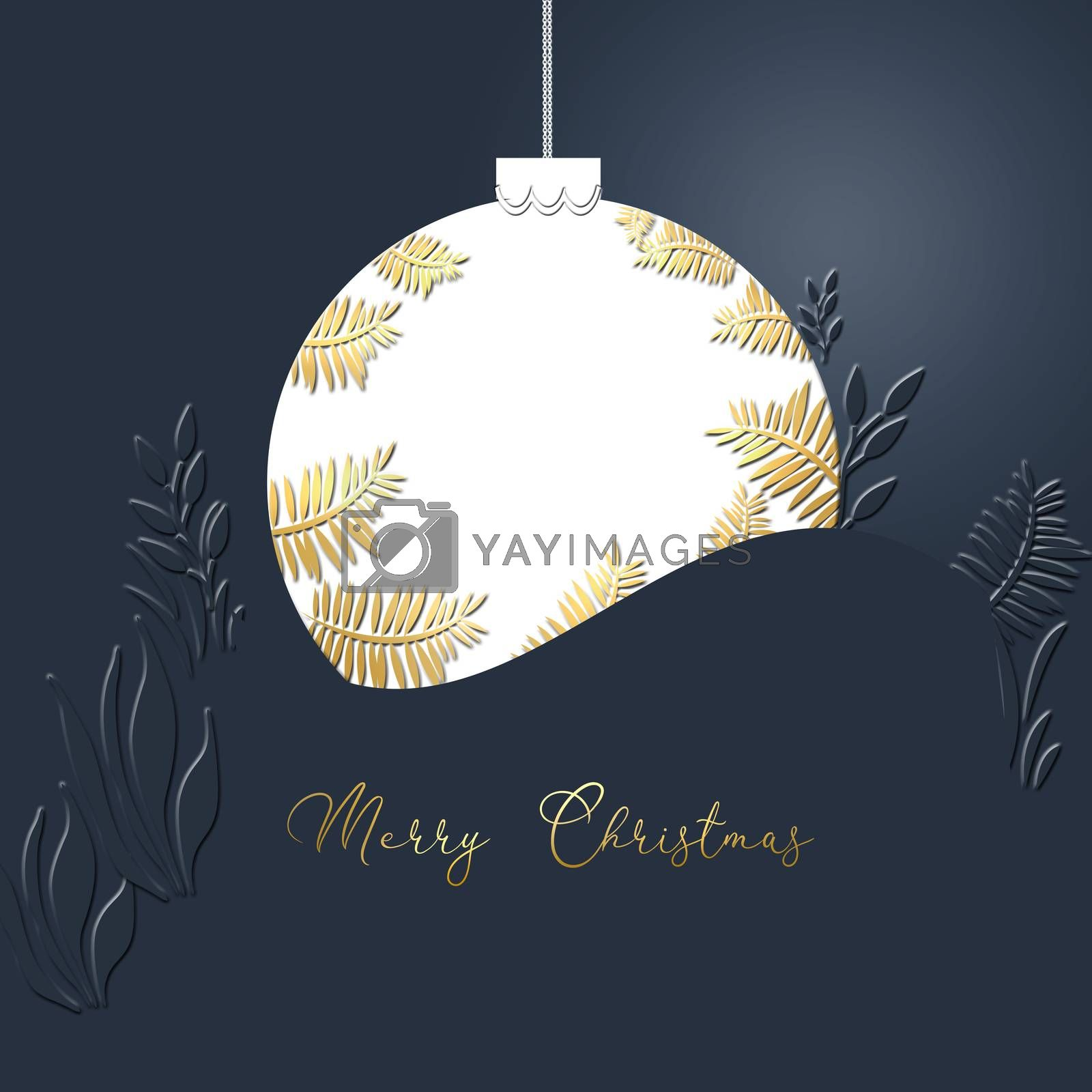 White Christmas ball made of gold leaves on blue background. Minimalist card. Text Merry Christmas. 3D illustration