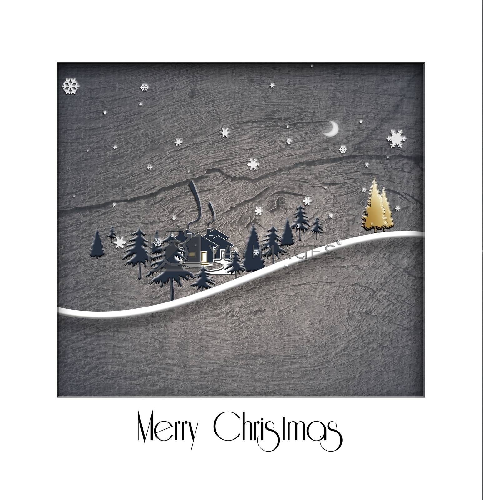 Christmas 2021 New Year winter landscape on old wood texture background. Design, poster. 3D Illustration