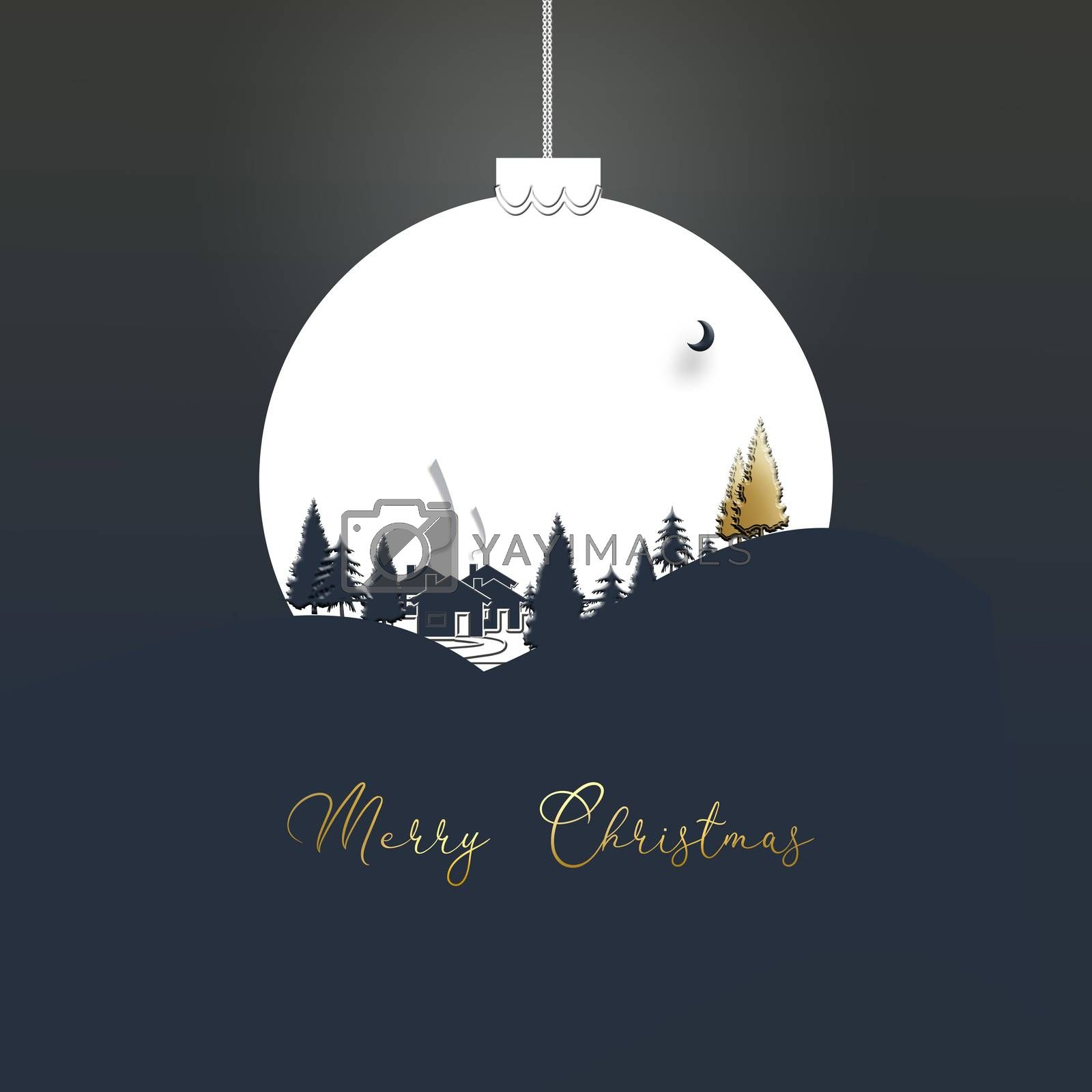 Winter landscape with houses, trees, firs in a white Christmas ball on blue background. Text Merry Christmas. 3D illustration