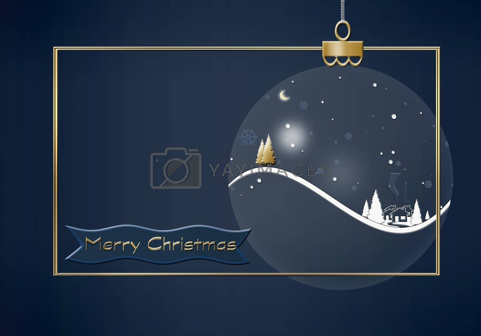 Hanging Christmas ball made of winter night landscape with snowflakes, houses, firs, gold Christmas tree on dark blue background. Greeting 2021 New Year card. Text Merry Christmas. 3D illustration