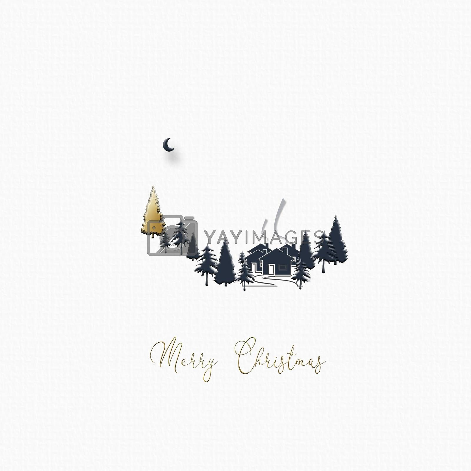 Beautiful minimalist Christmas 2021 New Year winter landscape with houses, moon, pine fir and gold Christmas tree on white background. Text Merry Christmas. Design, poster. 3D Illustration