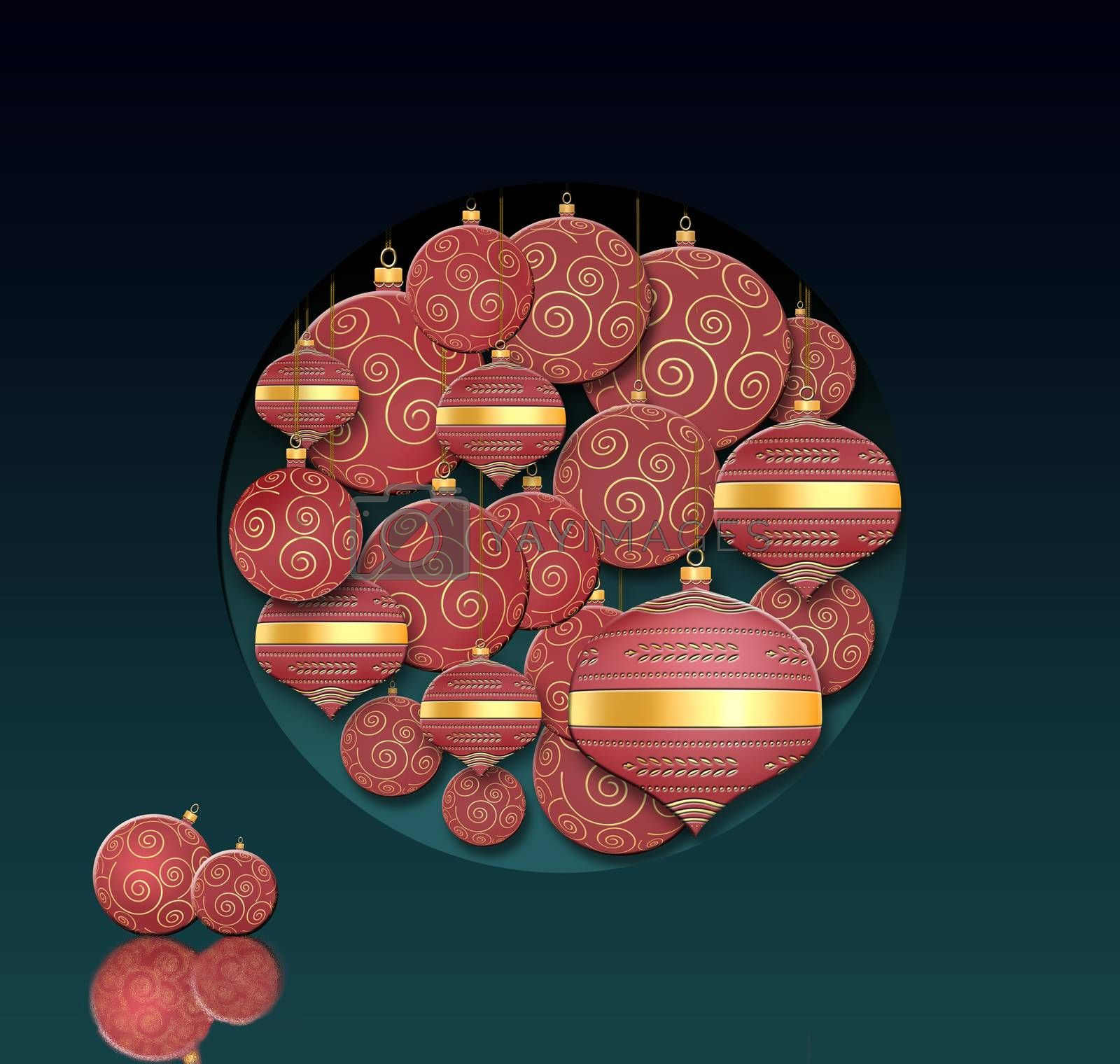 Hanging traditional lanterns and red Christmas balls with gold ornament on dark background. Place for text, copy space. 3D illustartion