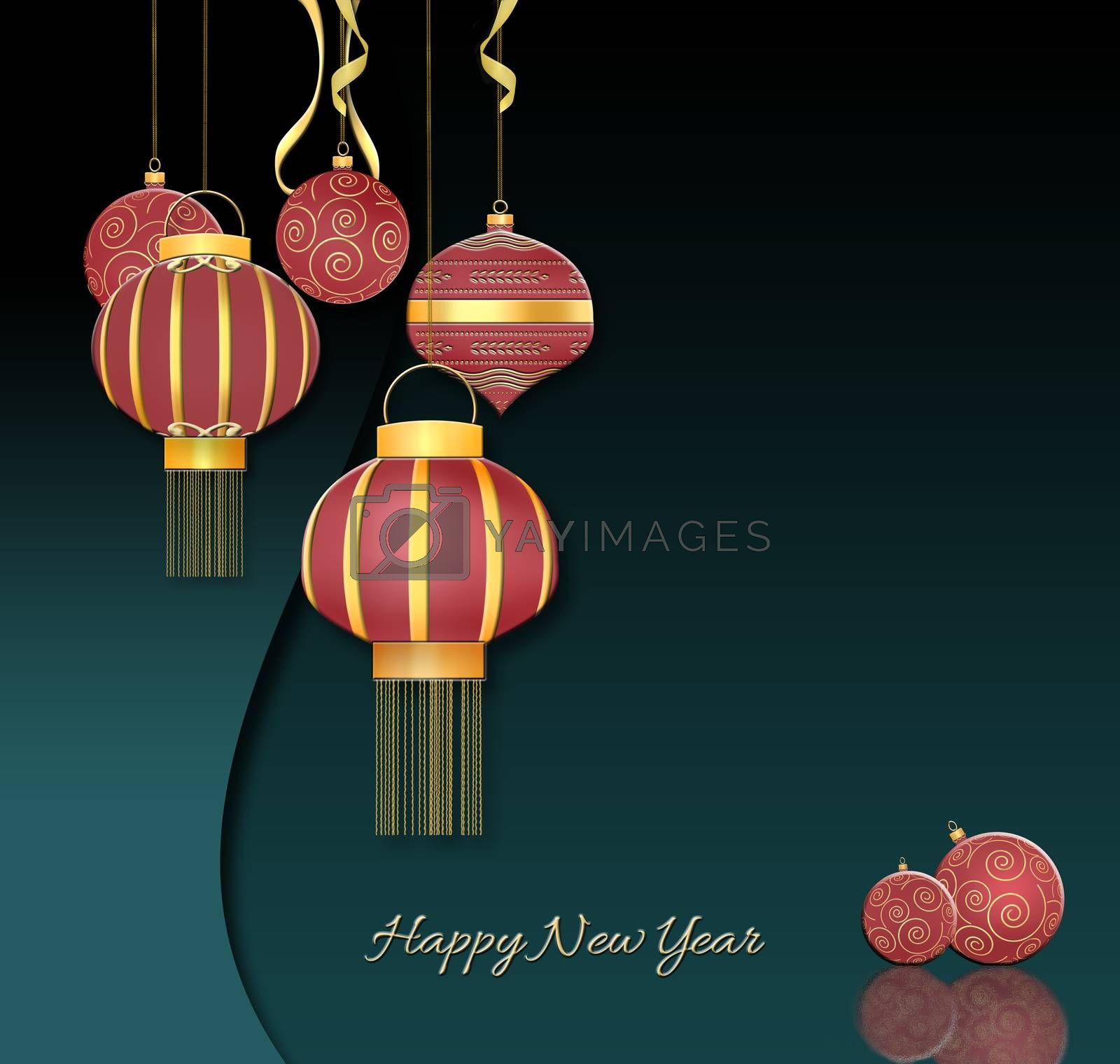 Red balls with gold ornament, Chinese style hanging red lanterns with confetti on dark green background. Chirstmas 2021 New Year card. Text Happy New Year. 3D illustration
