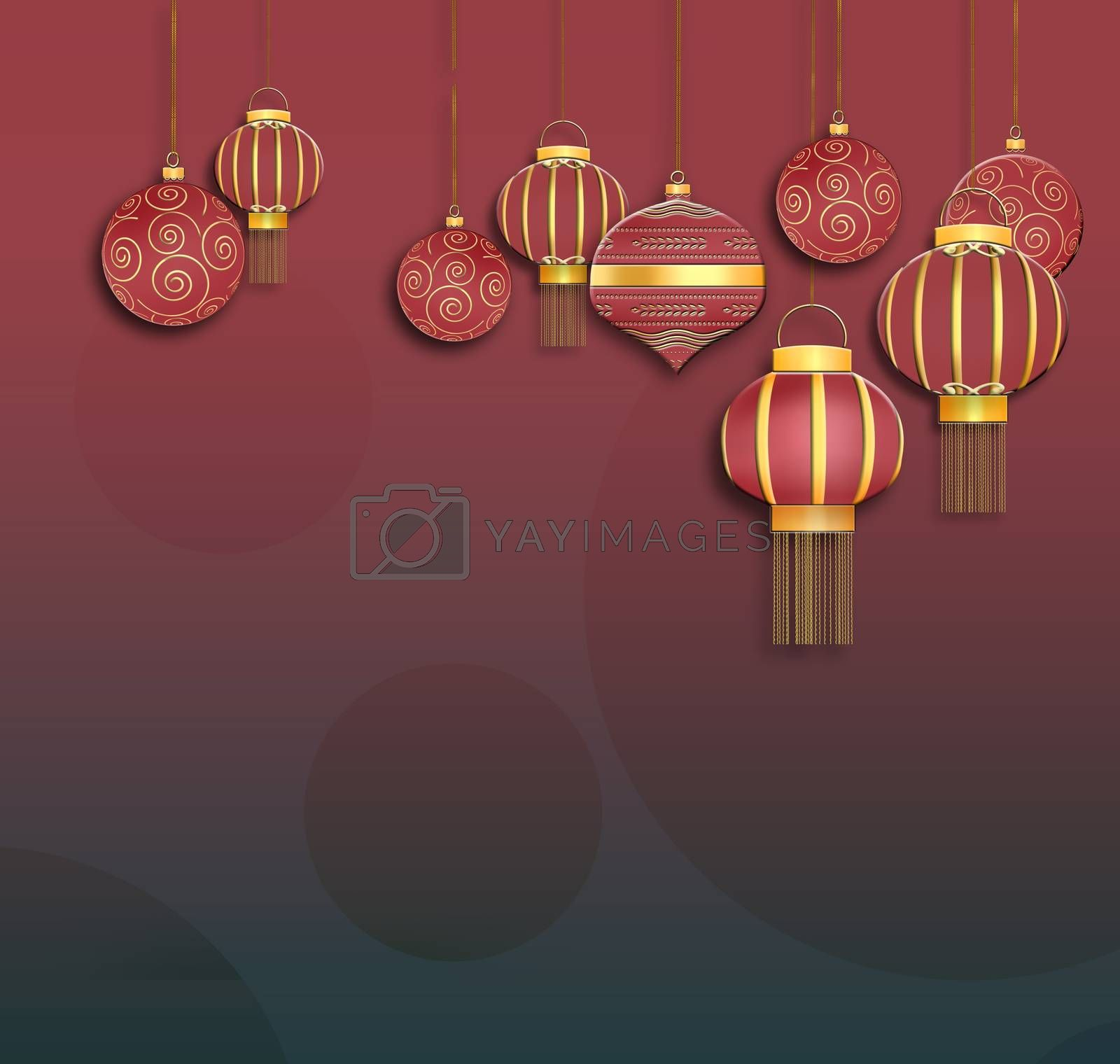 Christmas 2021 New Year Background with hanging red balls and lanterns with gold ornament on red background. Place for text. 3D illustration