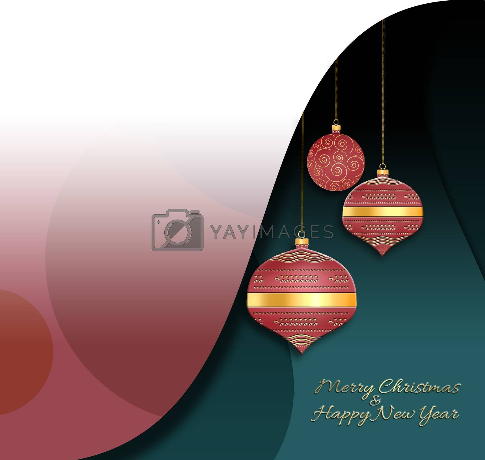 Elegant luxury Christmas 2021 New Year Background with hanging red lanterns with gold ornament on green dusty pink background. Mock up. 3D illustration