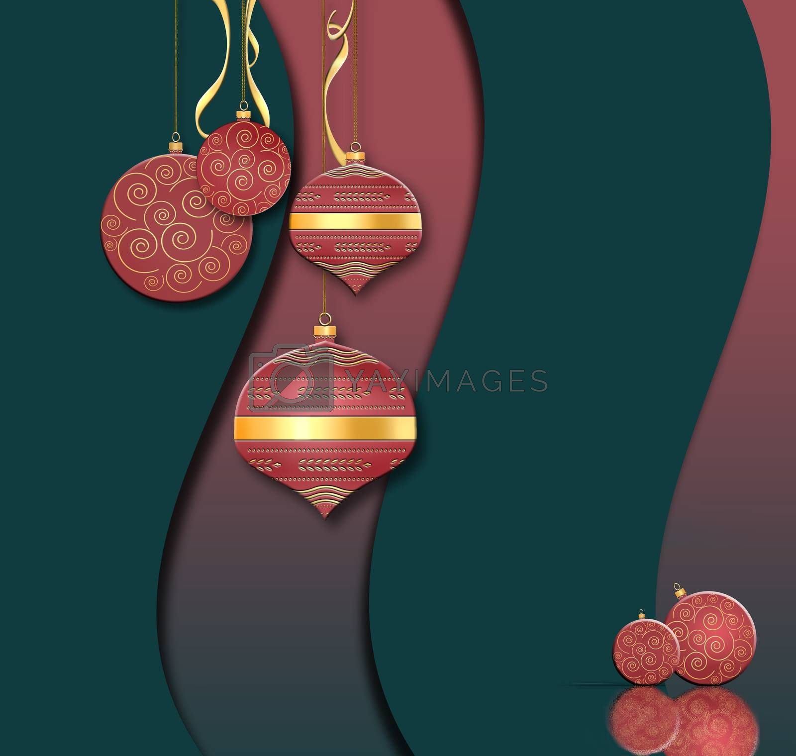Luxury Christmas and 2021 New Year balls background in Chinese style. Hanging red baubles with gold decor on black green red background. Text Happy New year. 3D illustration