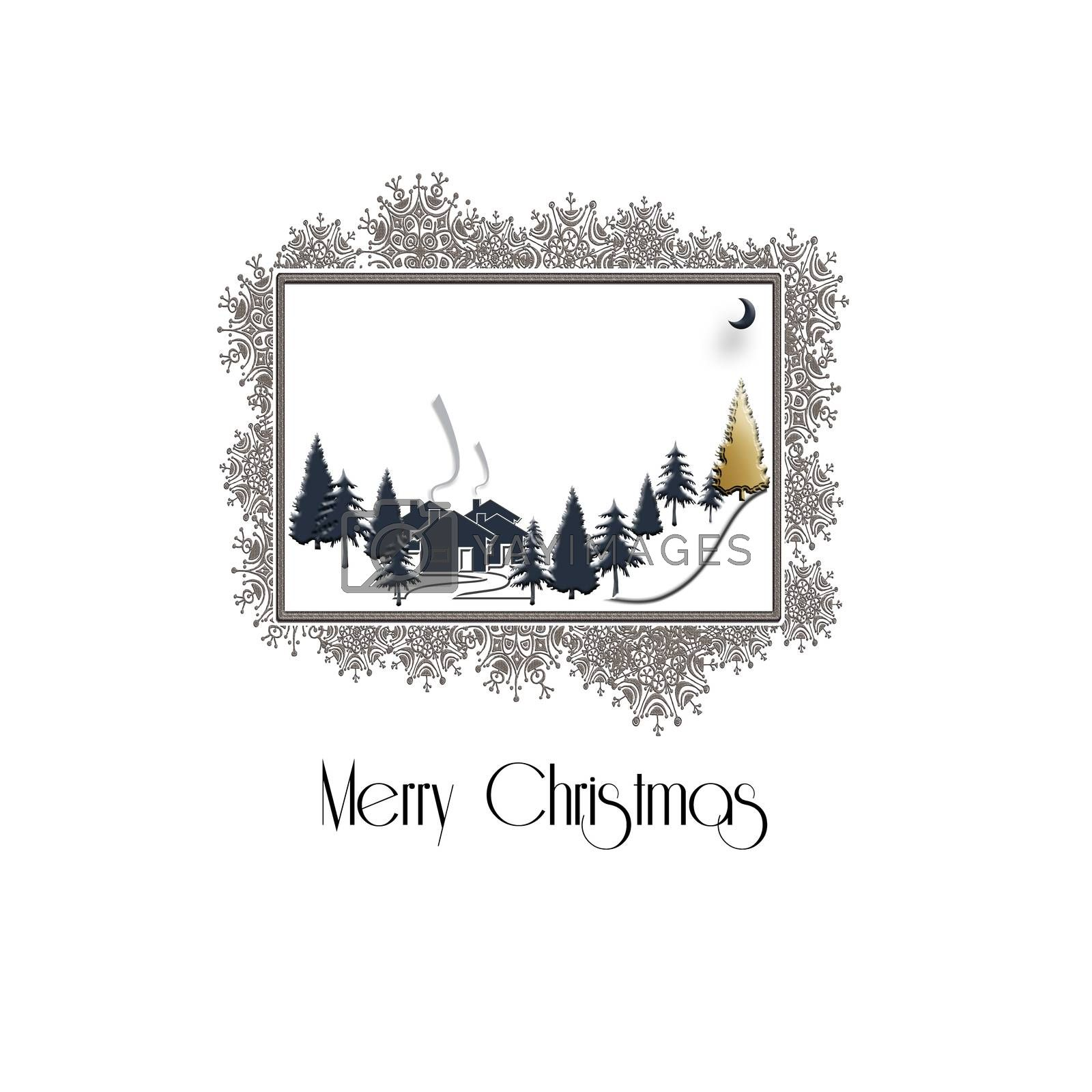 Beautiful Christmas winter silhouett of landscape with Christmas trees on white background, snowflake sparkling gold border. Design, poster. 3D Illustration