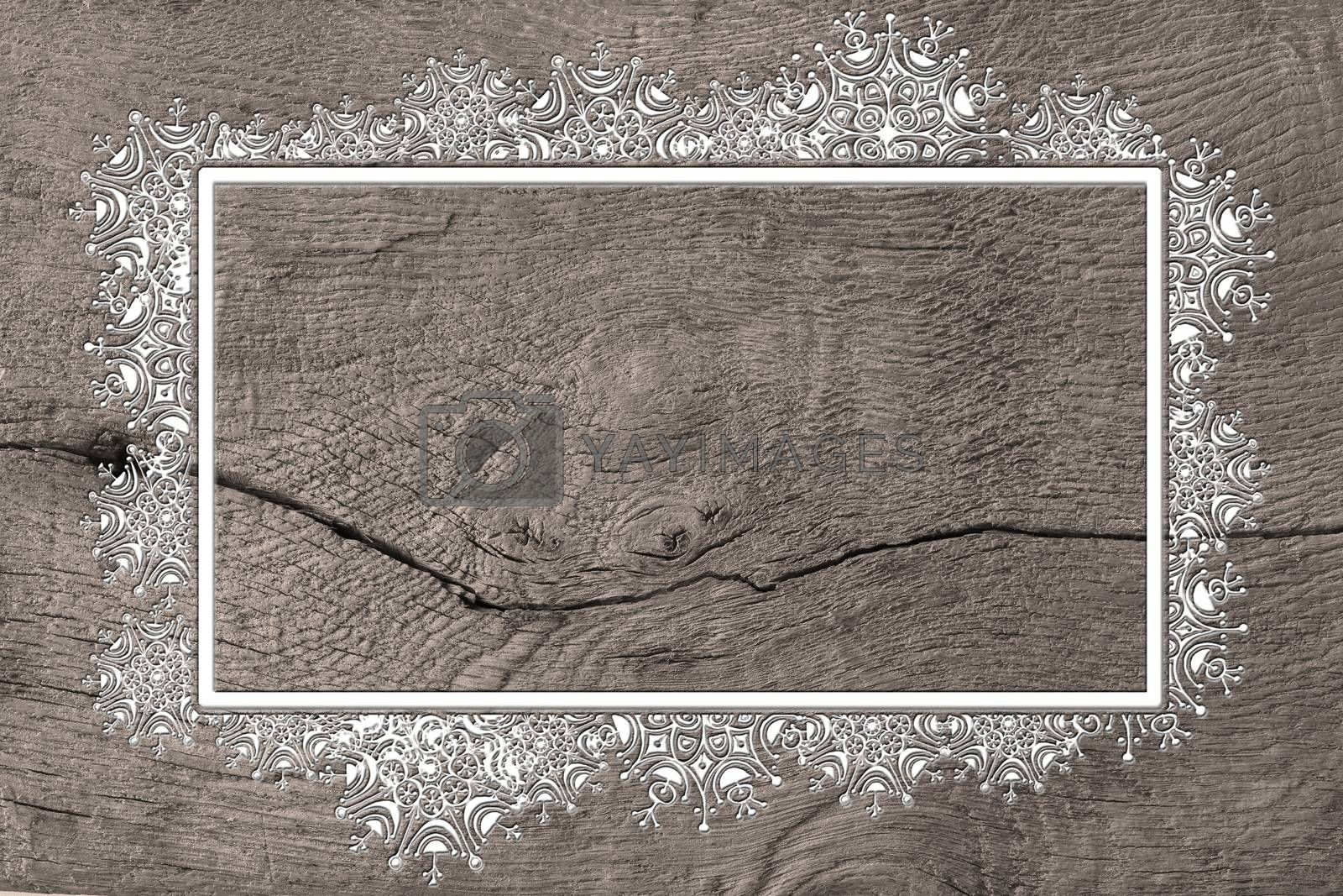Christmas 2021 New Year wooden background with snowflakes border frame. Mock up, place for text. 3D illustration