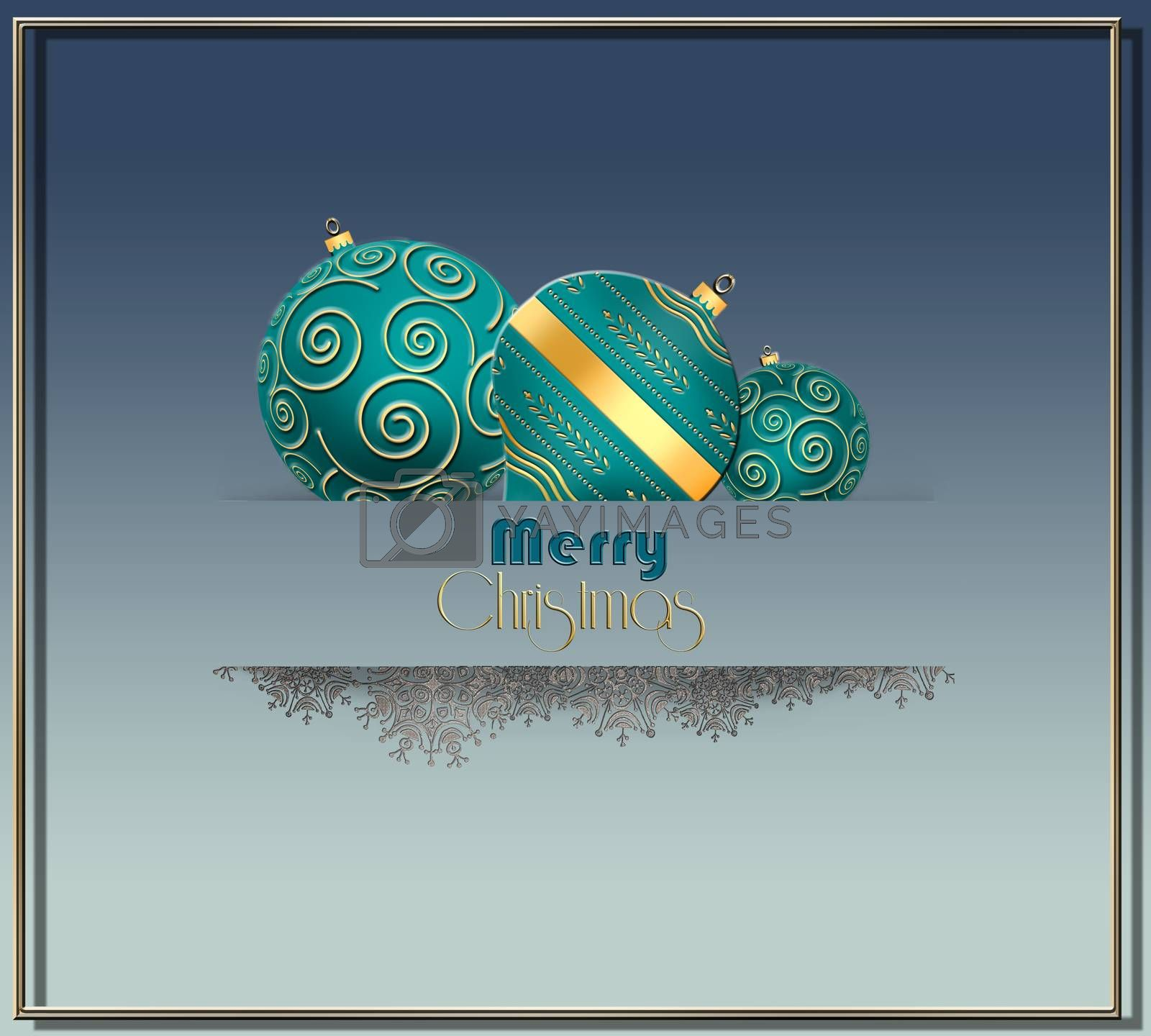 Beautiful Christmas 2021 New Year card card with turquoise blue green balls with gold ornament, snowflakes border in paper stripe on pastel blue background. Text Merry Christmas. 3D illustration