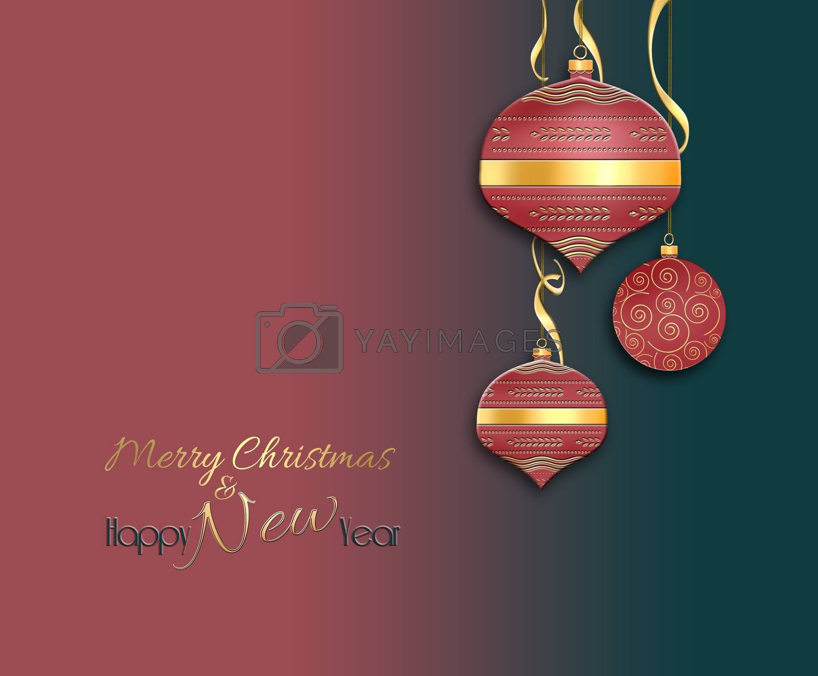 Christmas 2021 New Year background with shining red gold balls, serpentine. Text Merry Christmas and Happy New Year. Place for text. 3D Illustration.
