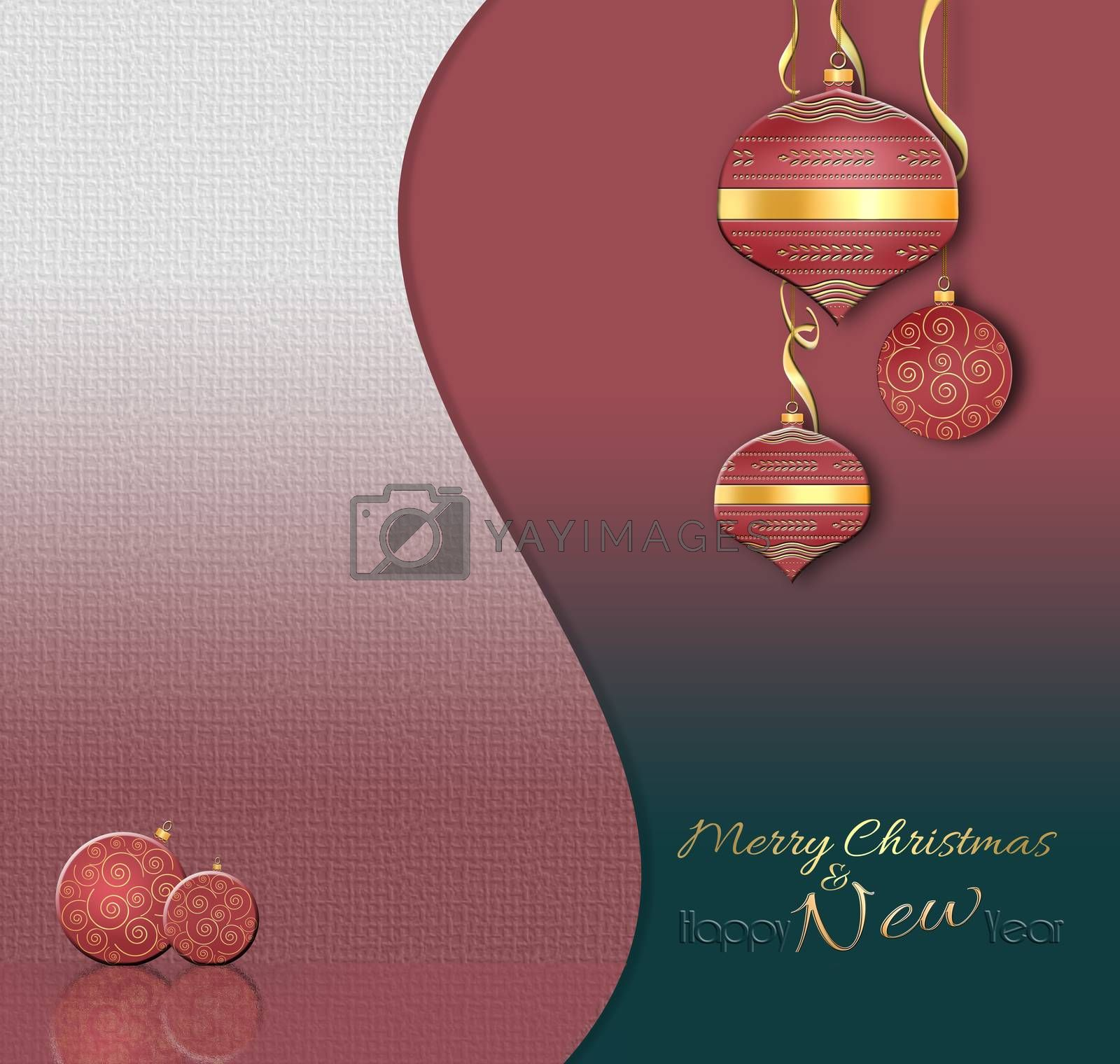 Luxury Christmas and 2021 New Year balls background in Chinese style. Hanging red baubles with gold decor on black red pink background. Text Happy New year. 3D illustration