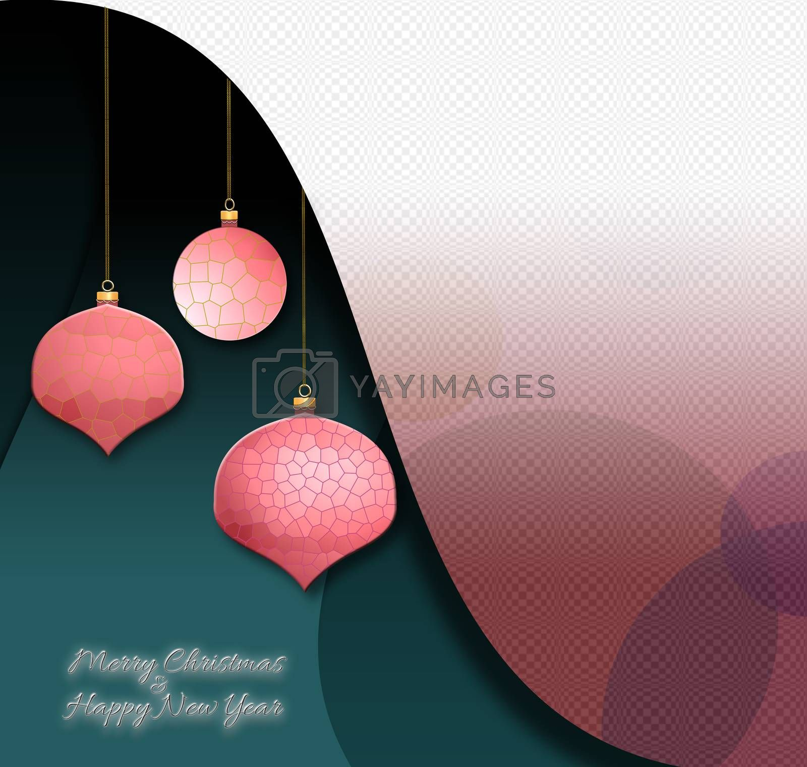 Christmas flyer in modern geometric futuristic style in green pink white colours. Neon text Merry Christmas Happy New Year. Mock up 3D illustration