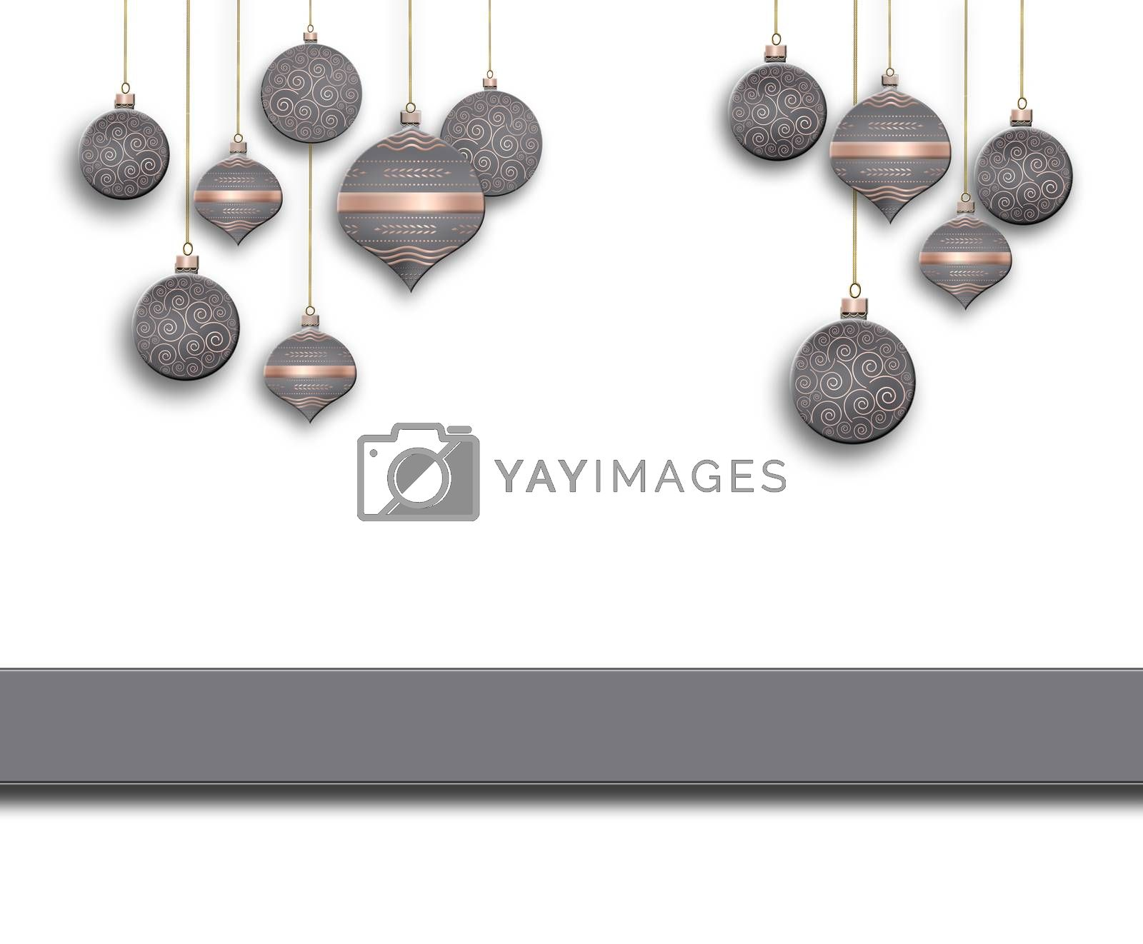 Elegant Christmas background with grey pink balls with gold ornament on white background. Text Merry Christmas. Copy space, place for text. 3D illustration