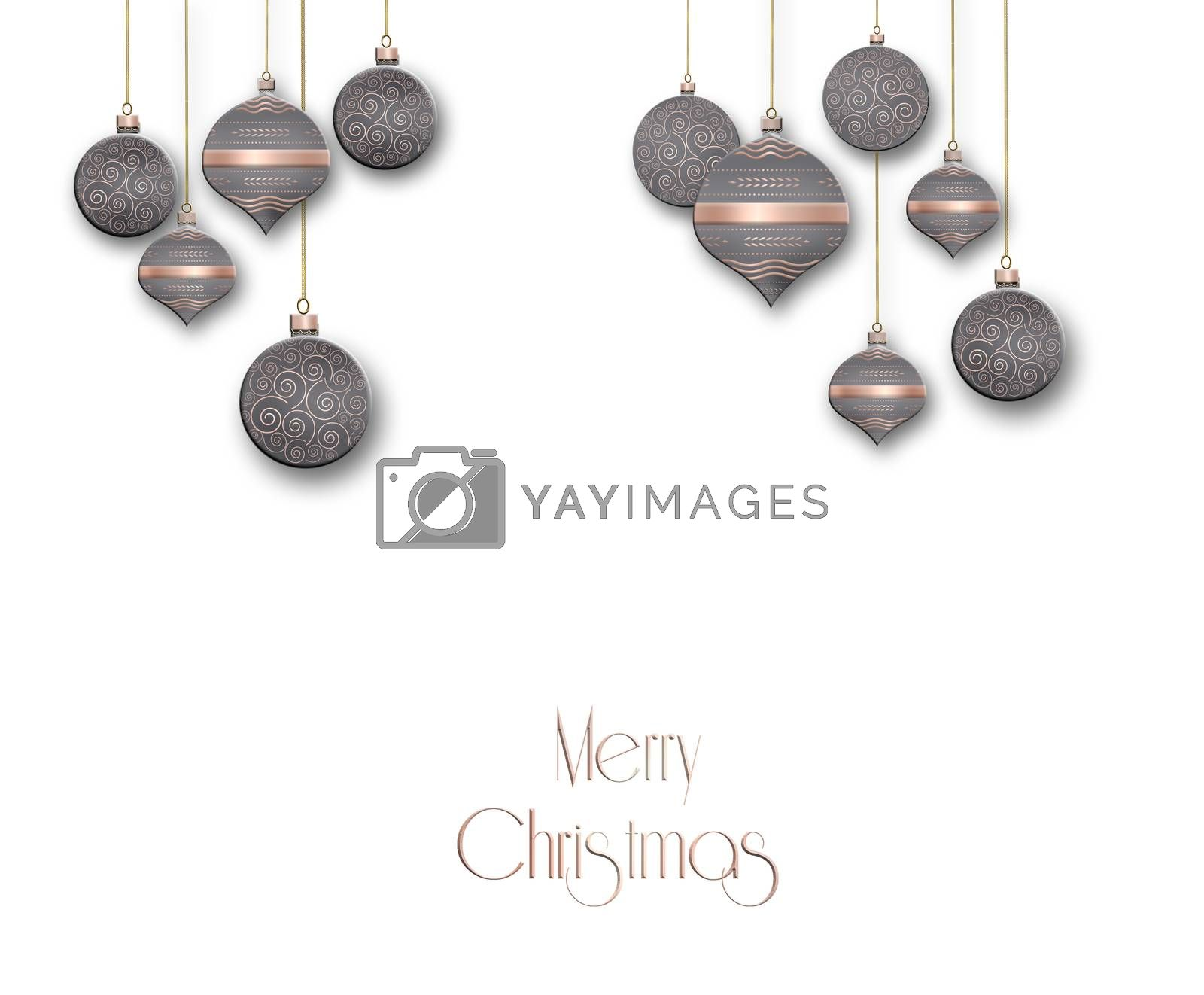 Elegant Christmas background with brown pink balls with gold ornament on white background. Text Merry Christmas. Copy space, place for text. 3D illustration