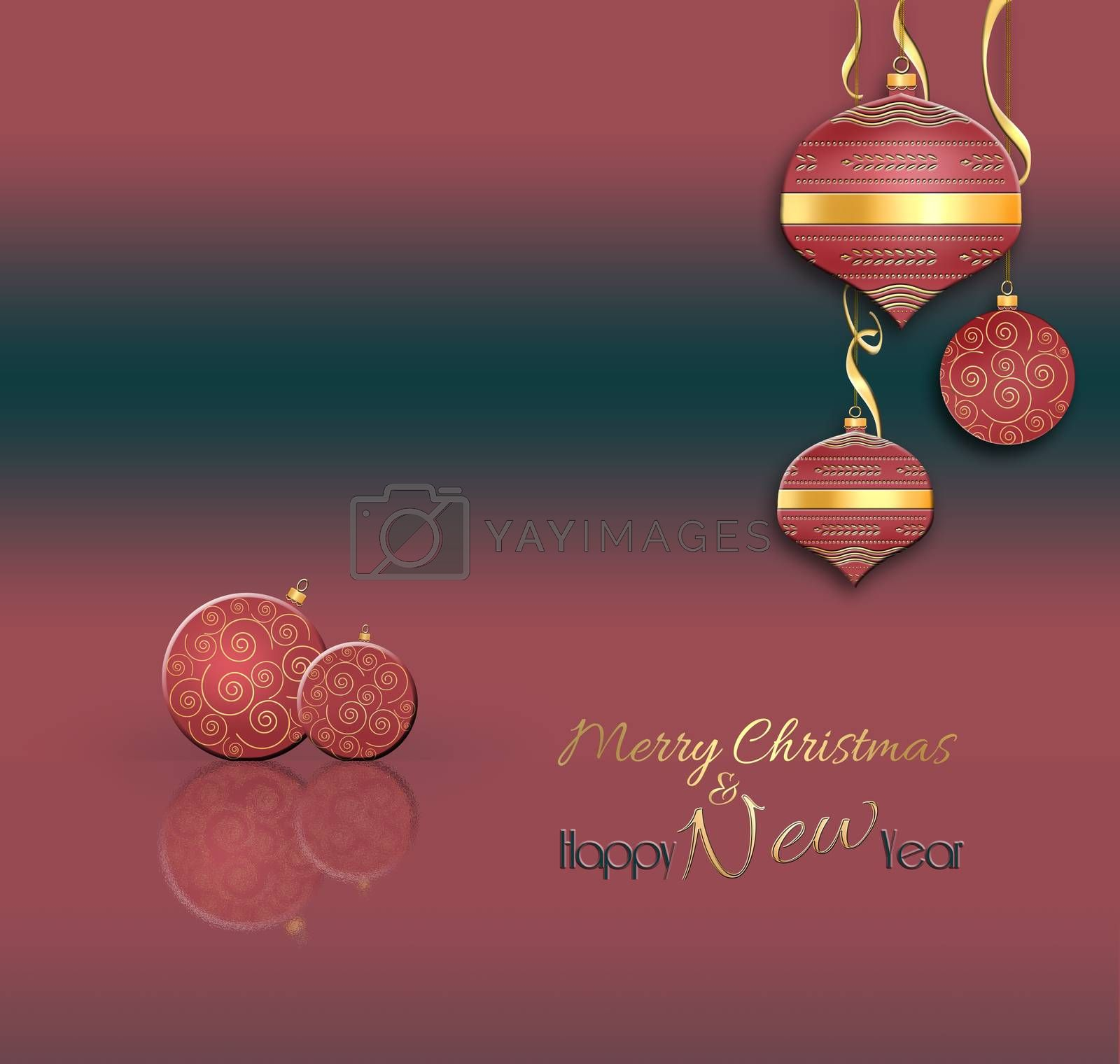 Christmas and New Year balls background. Hanging red decorative bauble with gold decor on red black background. Text Merry Christmas Happy New year. 3D illustration