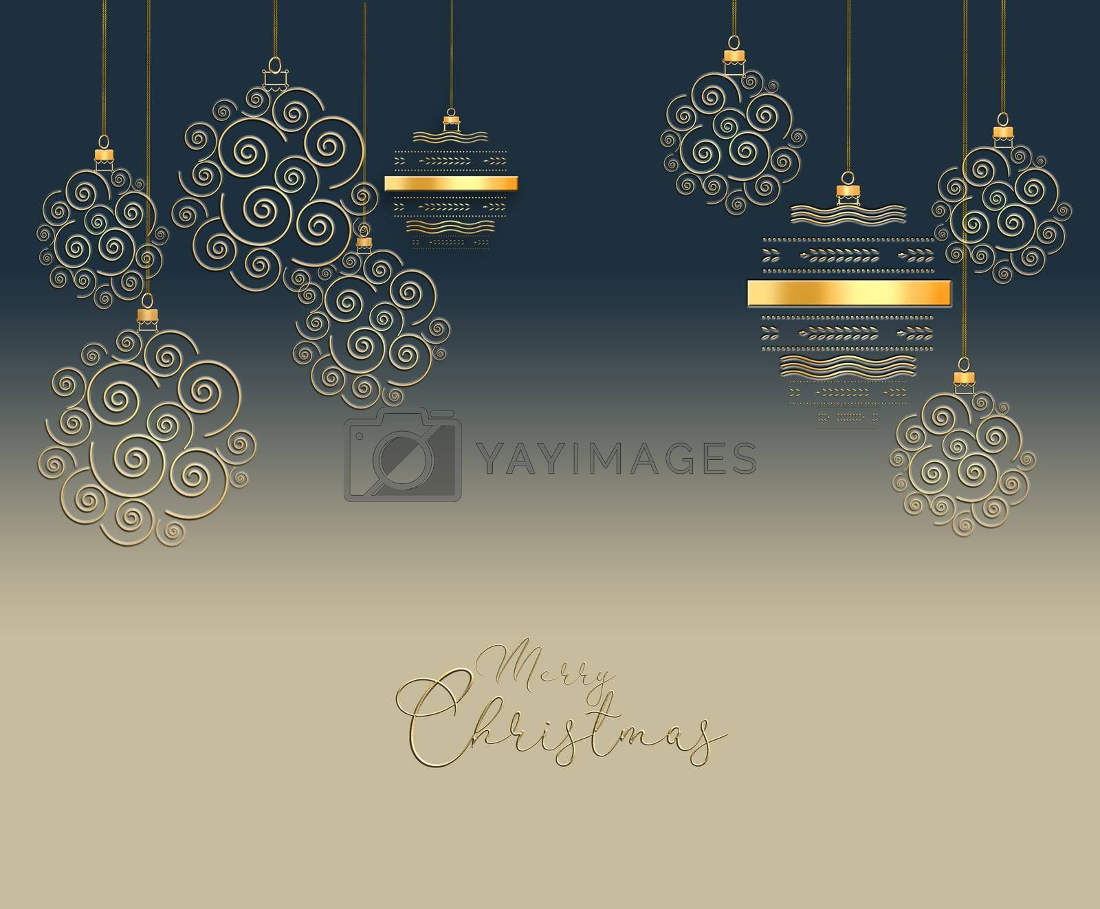 A set of gold shiny Christmas balls. New Year background with Christmas balls, text Merry Christmas. Copy space. 3D illustration