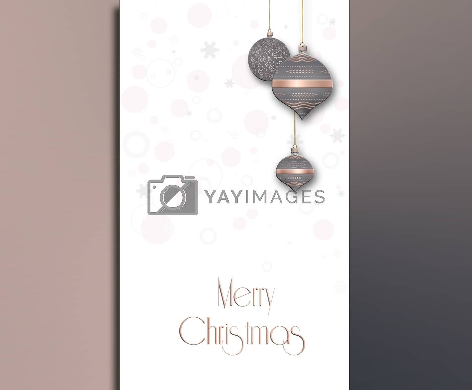 Elegant minimalist Christmas New Year background. Hanging pastel grey pink decorative bauble with gold decor on metallic background. Text Merry Christmas. 3D illustration