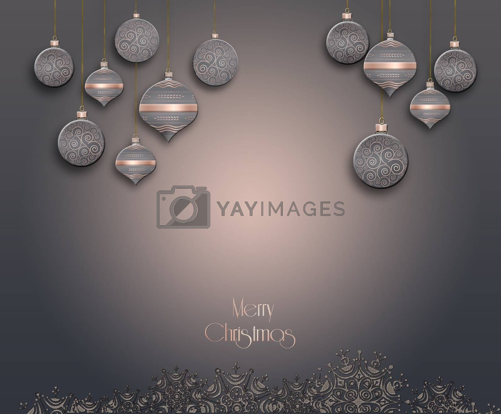 Christmas Background with balls in gold pink brown colour, snowflakes border and text Merry Christmas. 3D illustration
