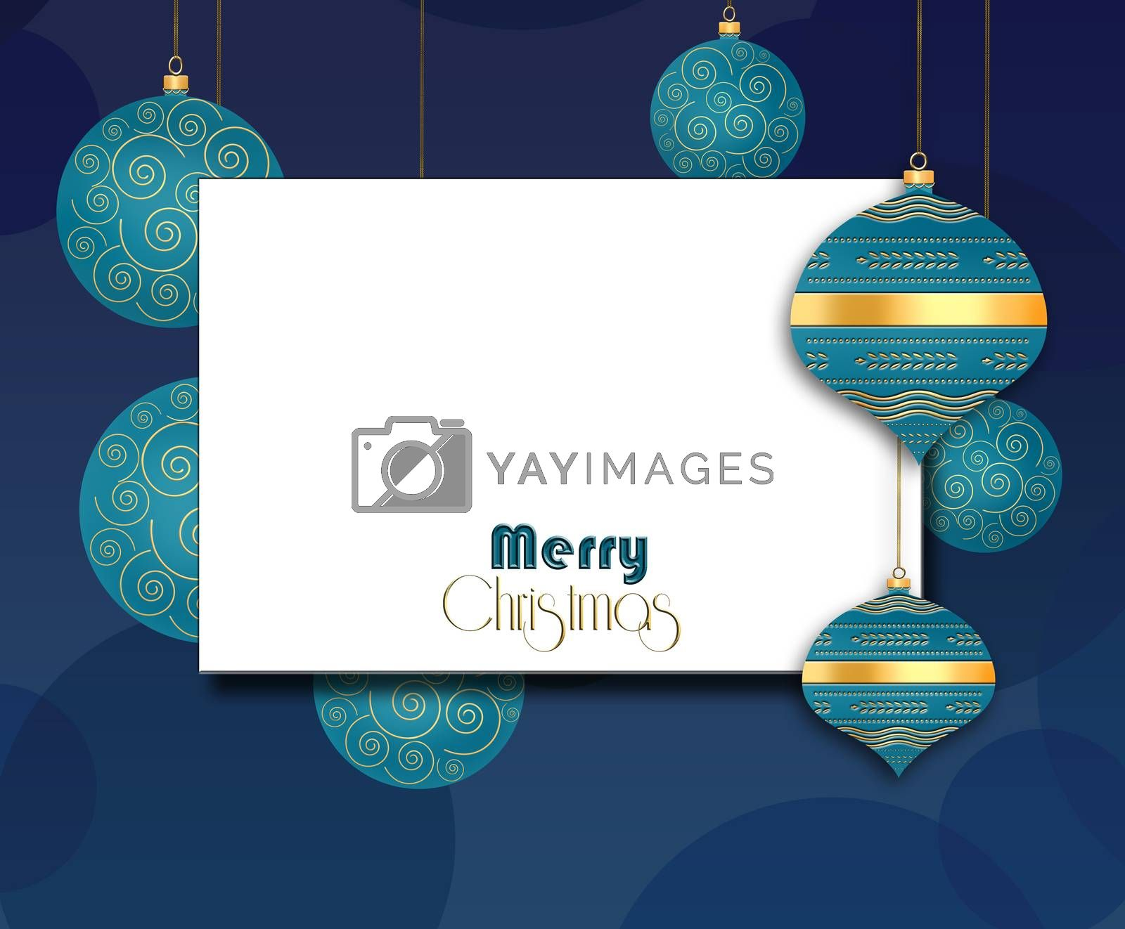 Elegant Christmas background with turquoise blue balls with gold ornament on blue background. Text Merry Christmas. Copy space, mock up, place for text. 3D illustration