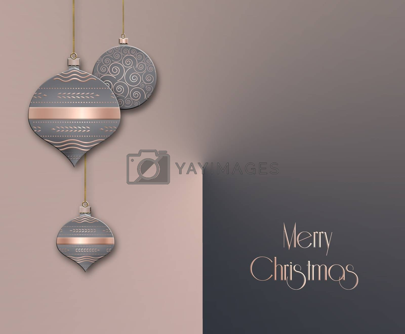 Elegant Christmas background with hanging balls with pink gold ornament on pastel grey dusty pink background. Copy space. 3D illustration