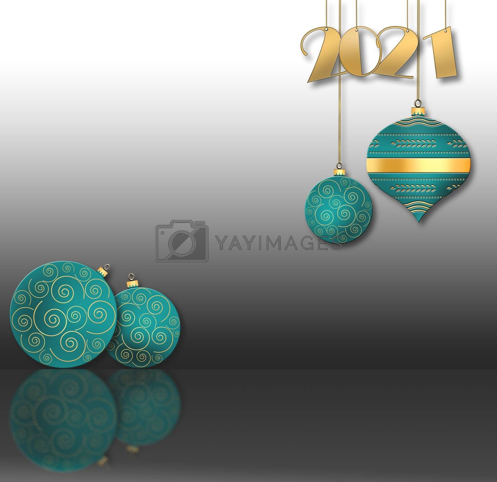 Christmas background with hanging turquoise blue balls with gold ornament and hanging gold digit 2021 on black background. Copy space. 3D illustration
